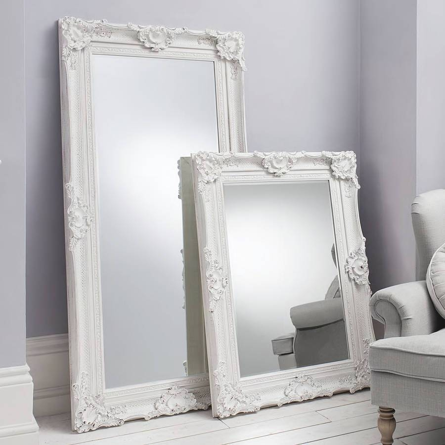 Bedroom: Leaner Mirror With White Frame Before The White Wall with regard to Huge Ornate Mirrors (Image 2 of 15)