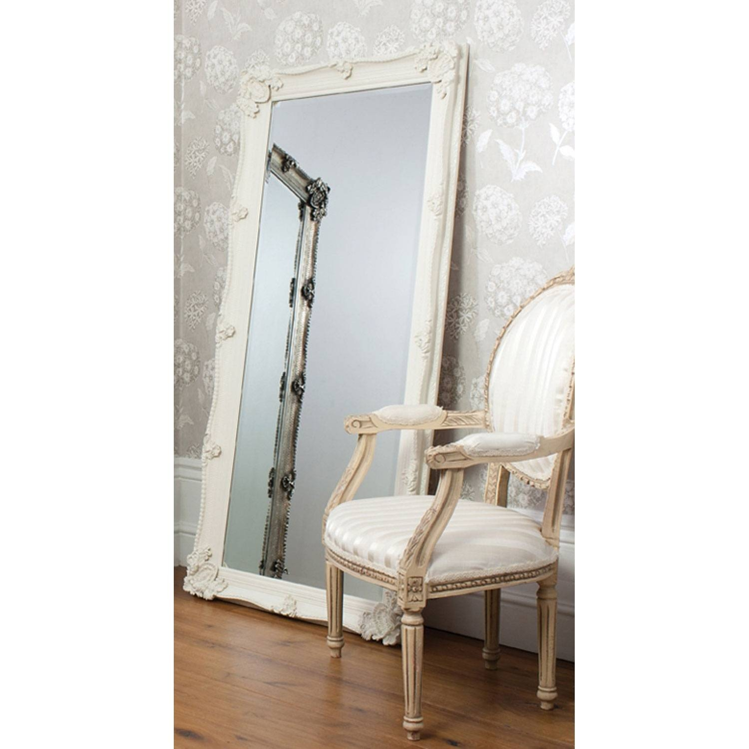 Bedroom: Leaner Mirror With White Frame On Wooden Floor Matched With Regard To Baroque Floor Mirrors (View 7 of 15)
