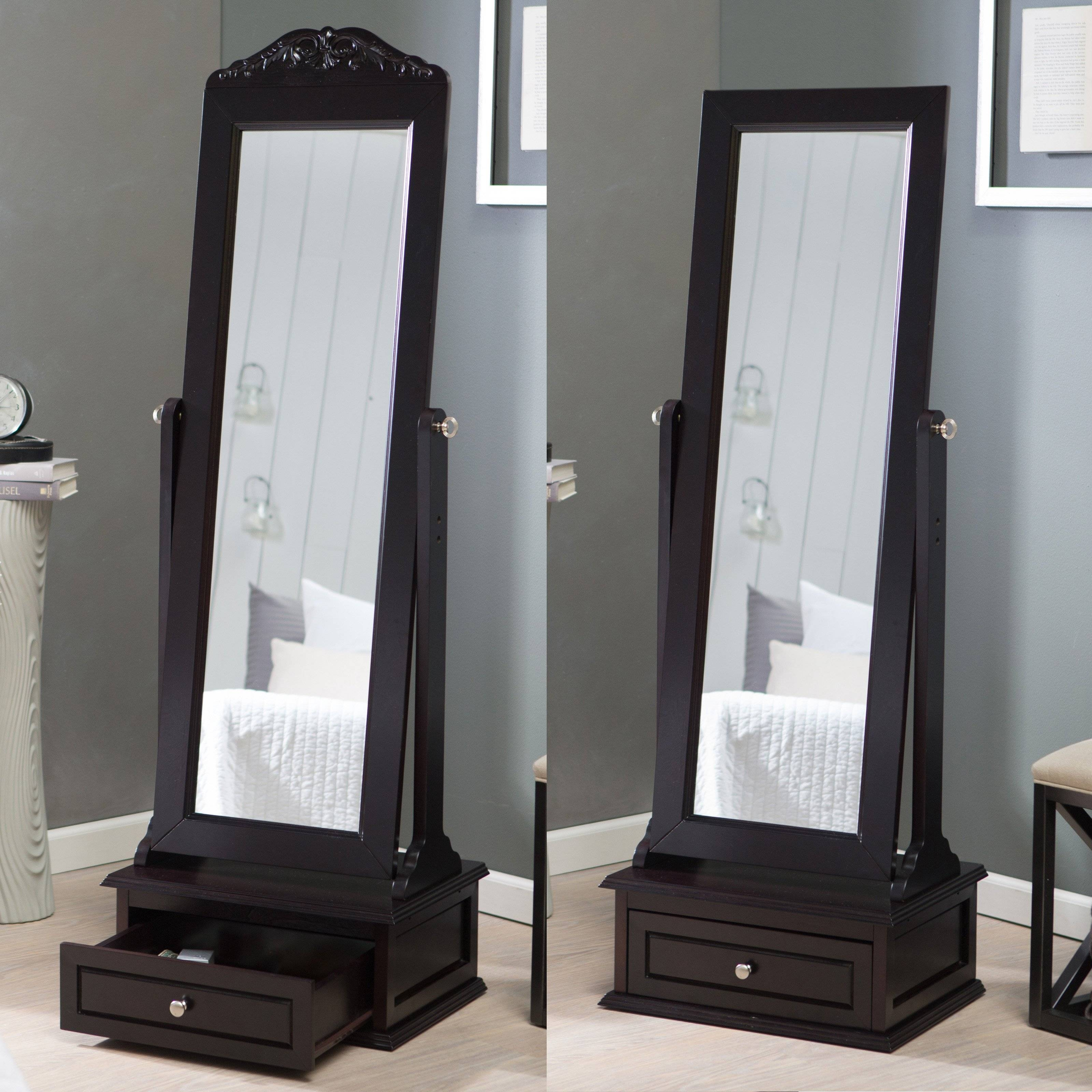 Belham Living Removable Decorative Top Cheval Mirror – Espresso Throughout Cheval Free Standing Mirrors (View 9 of 15)