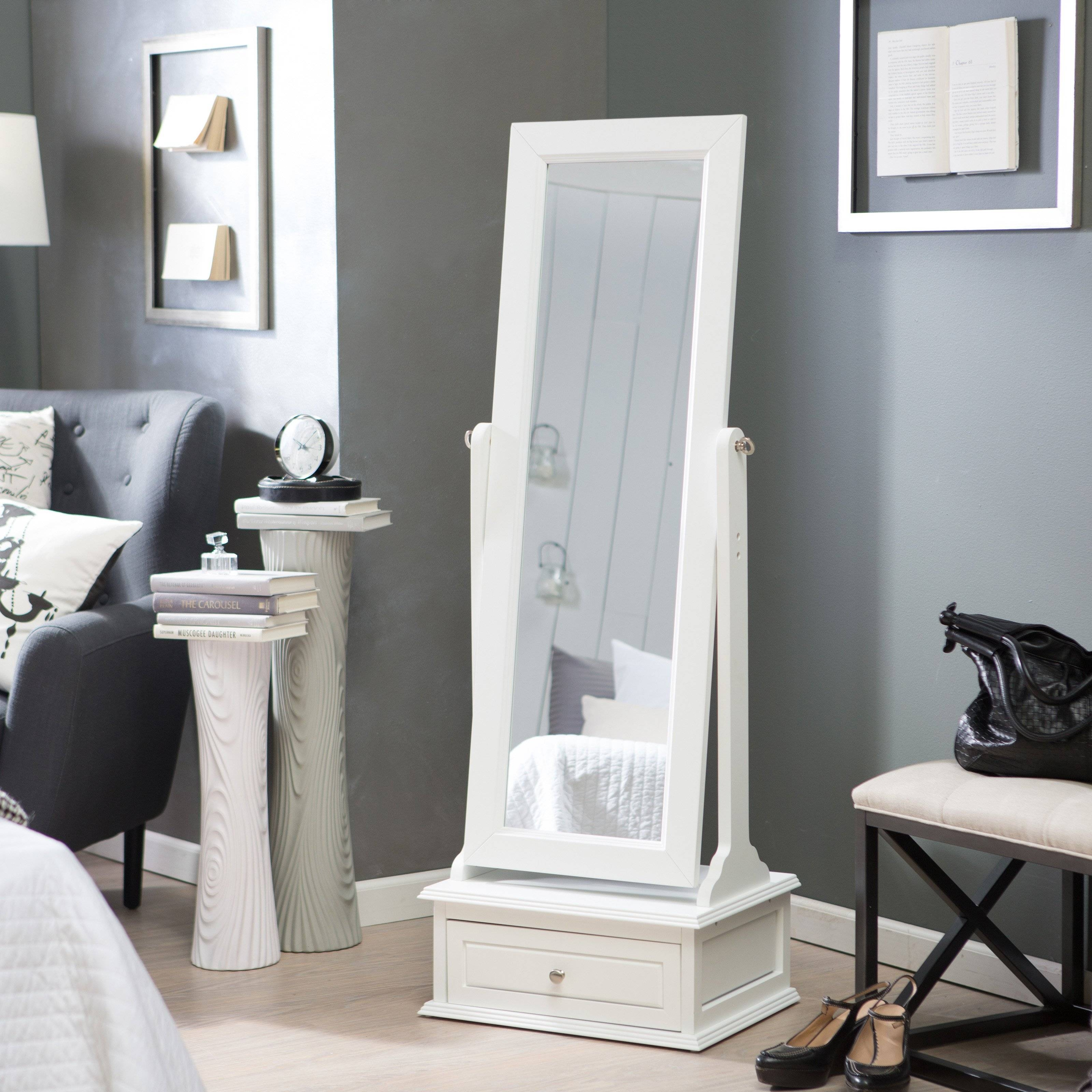 Belham Living Removable Decorative Top Cheval Mirror – White With Large White Floor Mirrors (View 3 of 15)