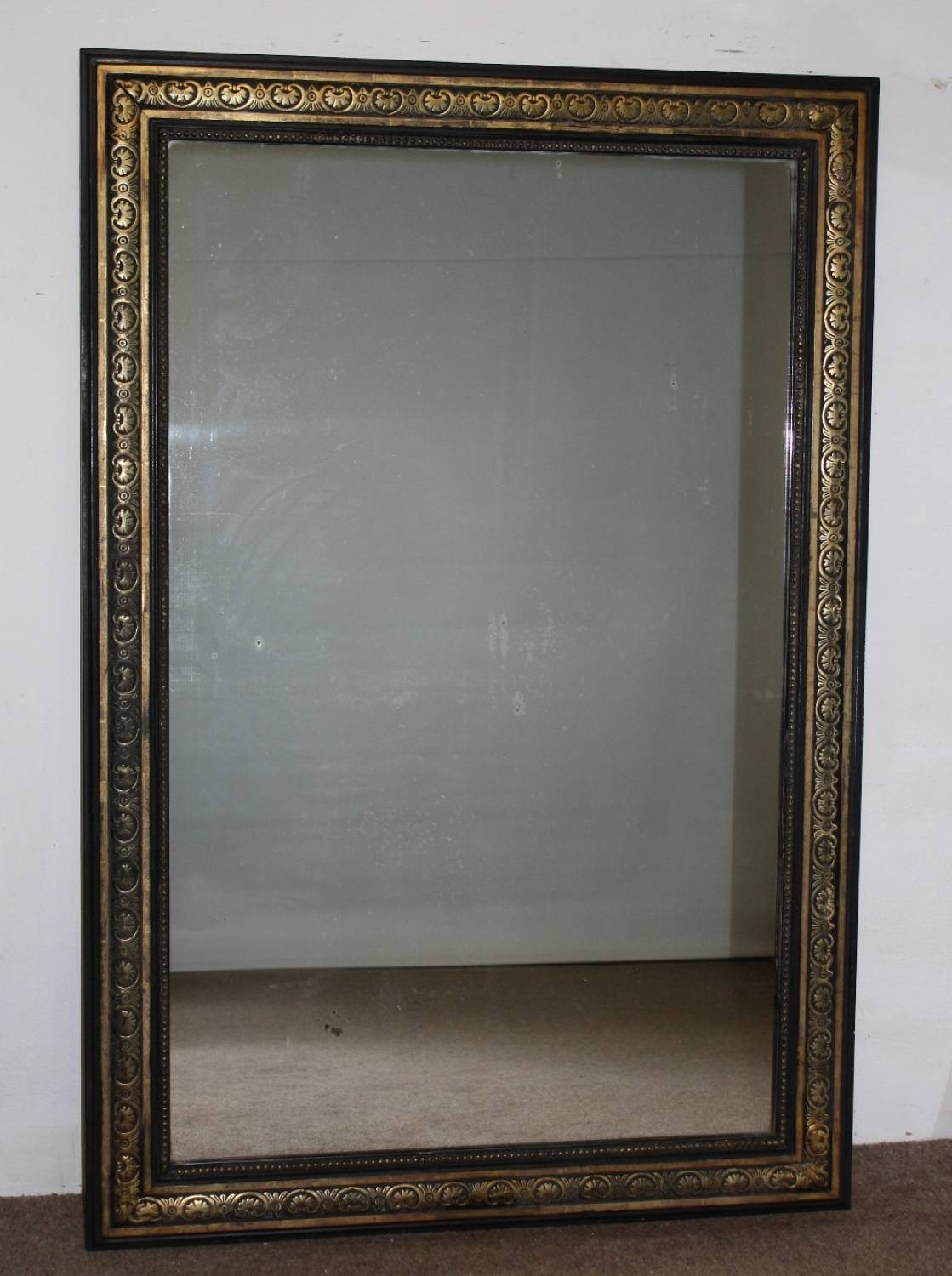 Black And Gold Framed Rectangular Mirror pertaining to Black Antique Mirrors (Image 2 of 15)