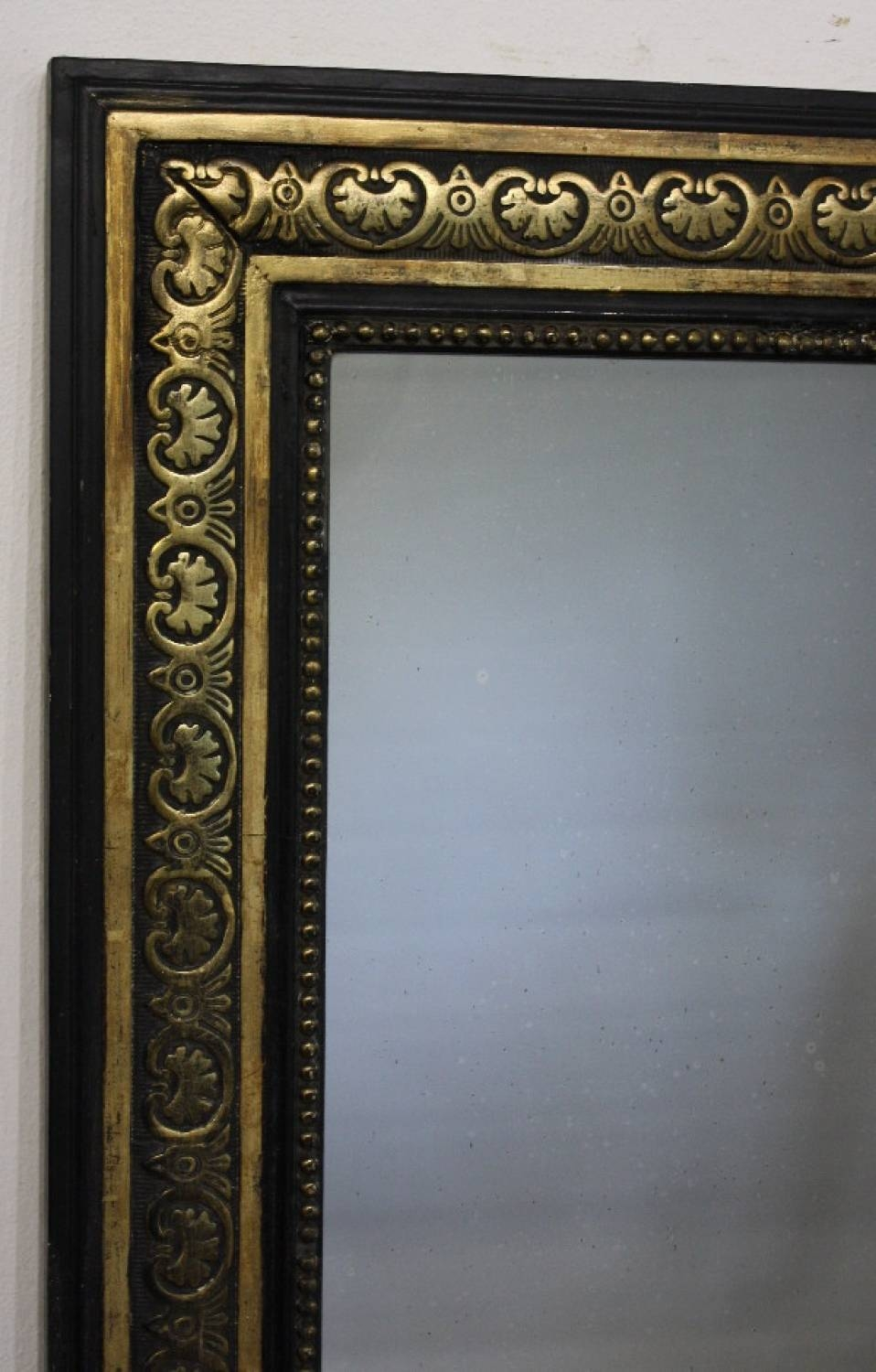 Black And Gold Framed Rectangular Mirror within Black Antique Mirrors (Image 3 of 15)