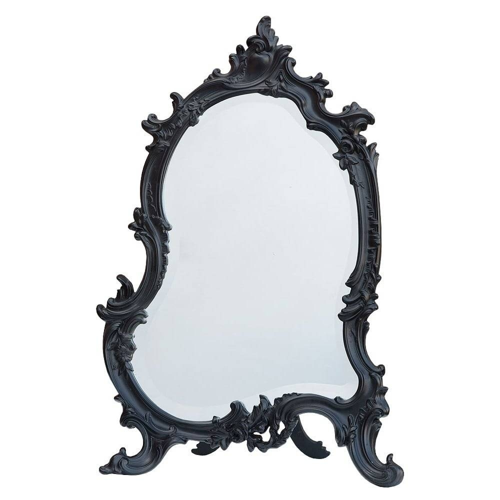 Black Antique French Style Table Mirror - French Mirrors From for Black Antique Mirrors (Image 4 of 15)