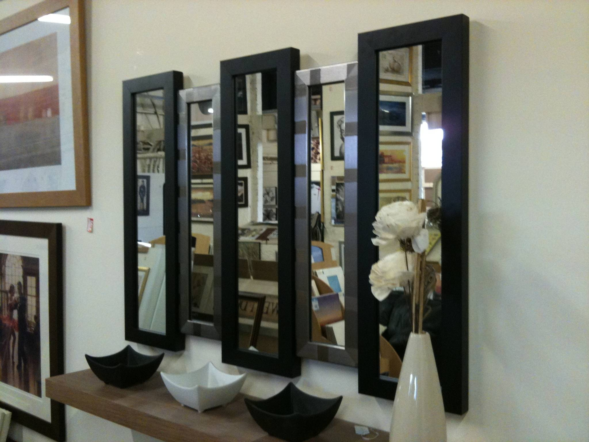 Black/silver 5 Panel Wall Mirror 105 X 76 Cm For Long Black Wall Mirrors (View 8 of 15)