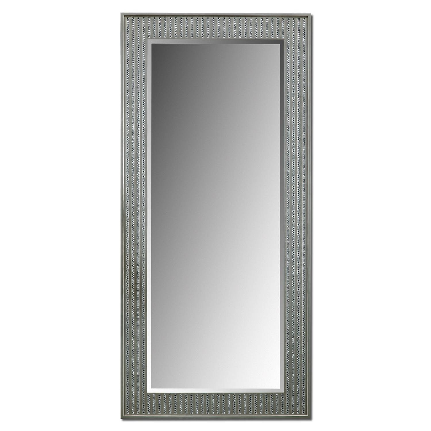 Bling Glam Floor Mirror - Silver | Value City Furniture And Mattresses with Bling Floor Mirrors (Image 4 of 15)