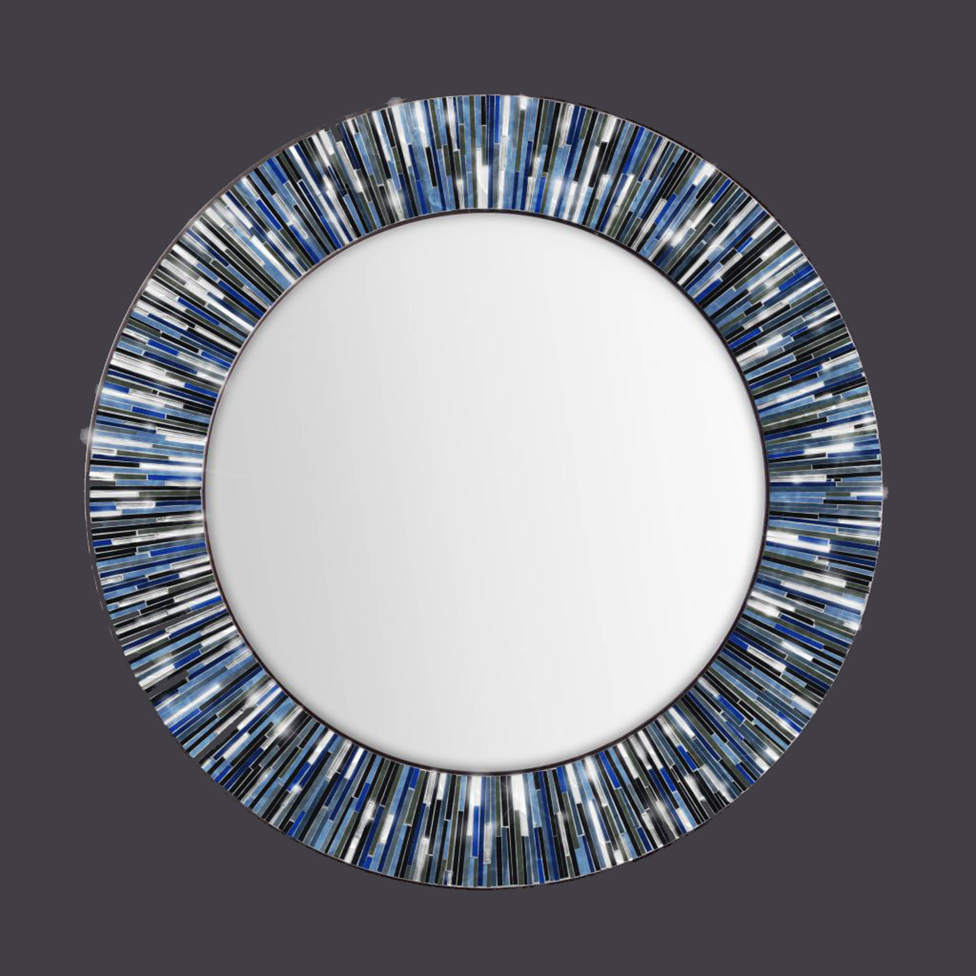 Blue Roulette' Handmade Rolled Art Glass Mirror With Blue Round Mirrors (View 3 of 15)