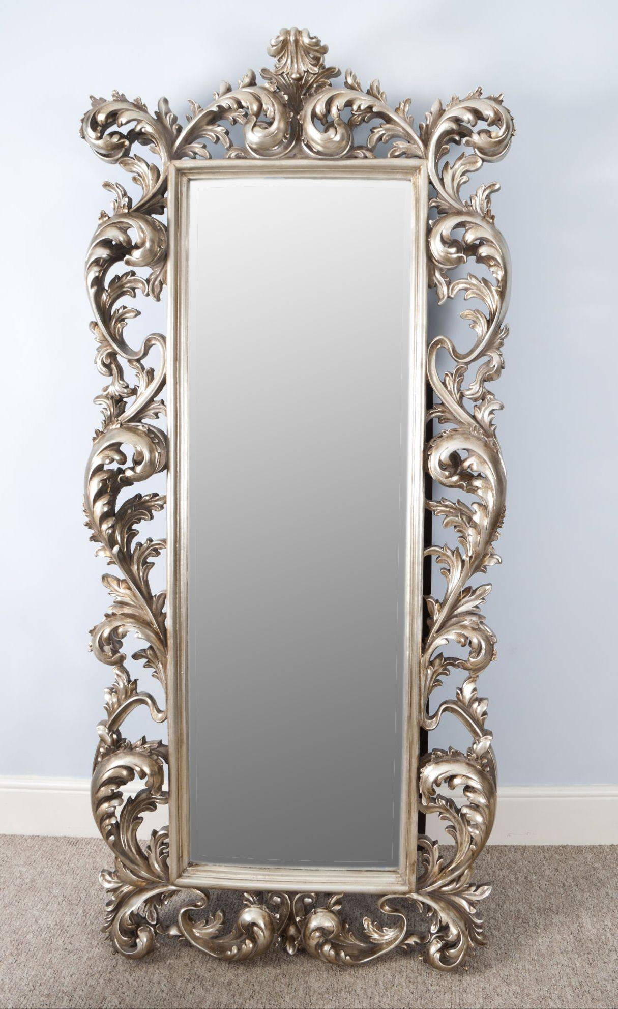Brilliant Antique Stand Up Wall Mirror With Hanging Mirror On Wall in Long Silver Wall Mirrors (Image 6 of 15)