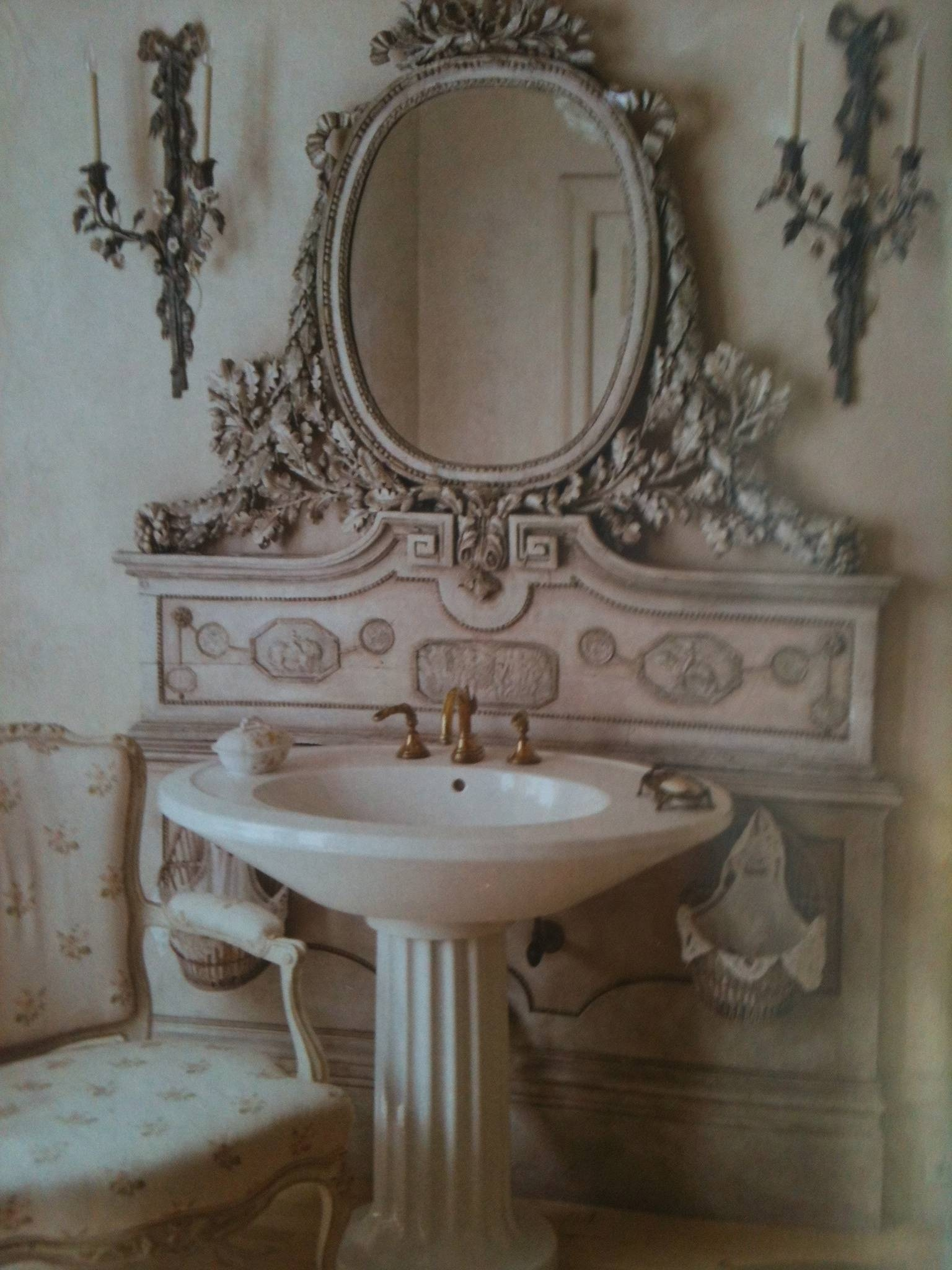 Chic Design Shabby Bathroom Mirror White Baroque Large Vintage Pertaining To Shabby Chic Bathroom Mirrors (View 4 of 15)
