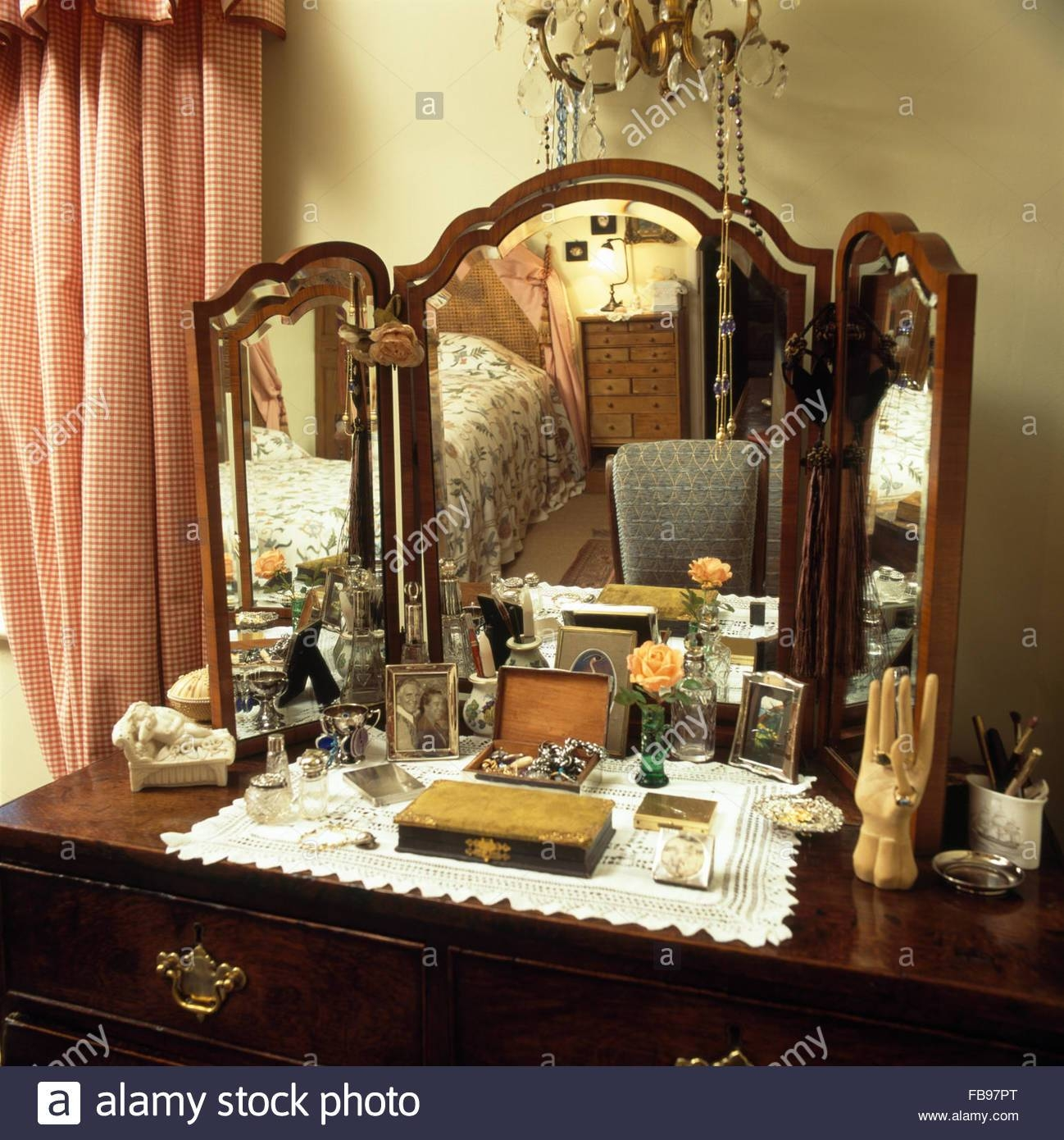 Close-Up Of A Vintage Dressing Table With Triple Mirror Stock for Antique Triple Mirrors (Image 7 of 15)