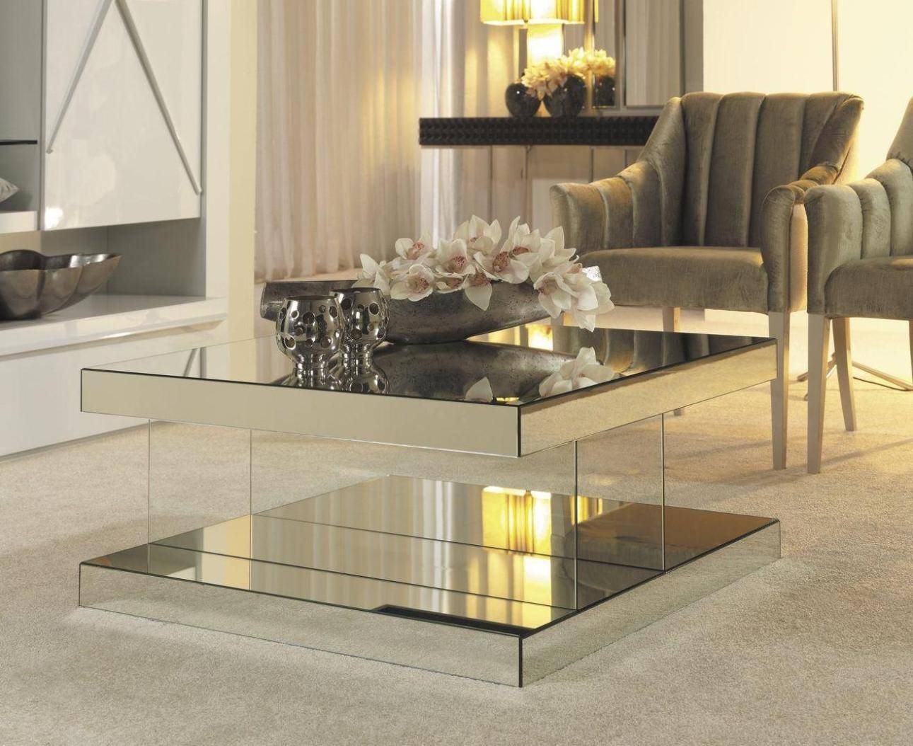 Coffee Table, Mirror Top Coffee Table Mirrored Coffee Table Tray within Occasional Tables Mirrors (Image 8 of 15)
