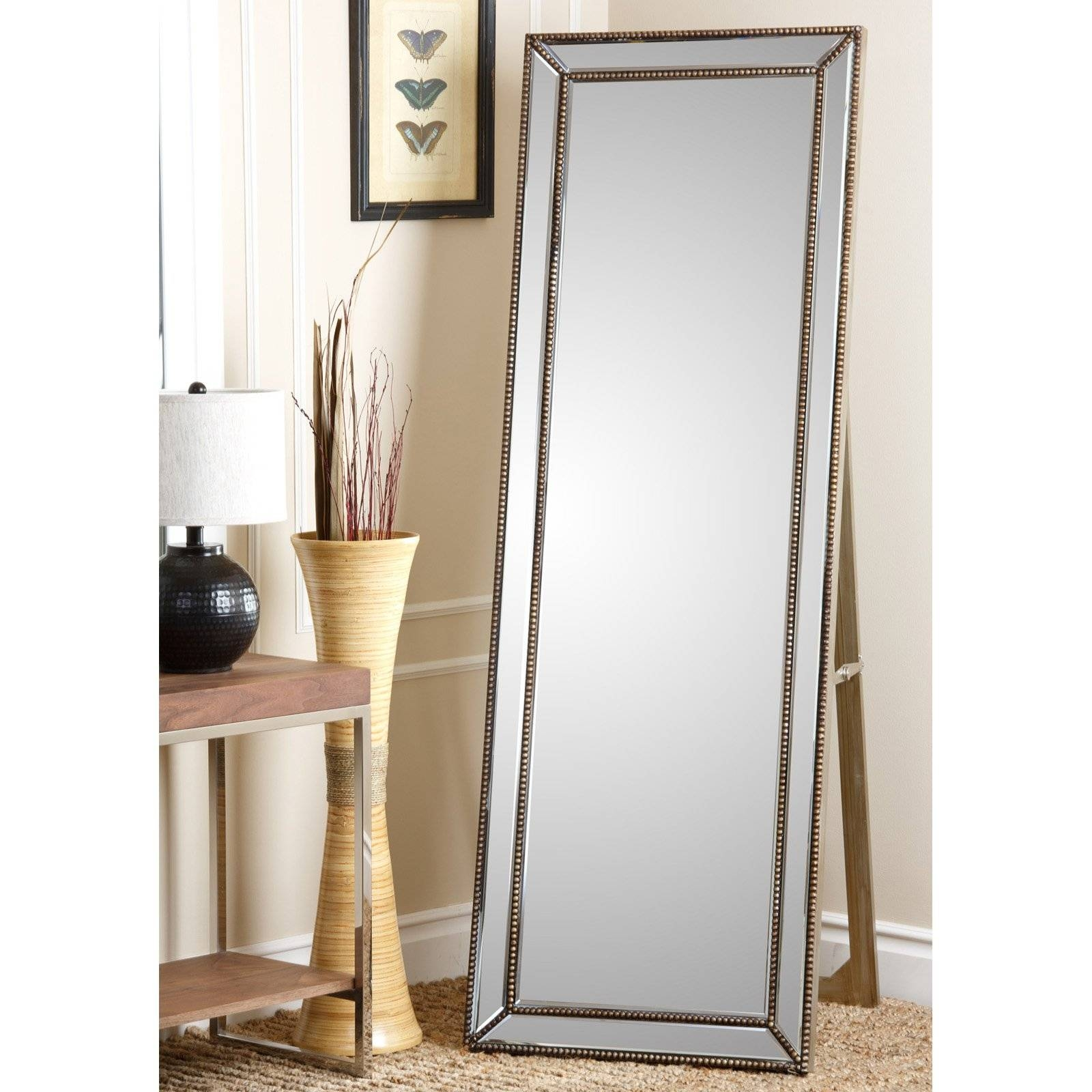 Cosmic Tarnished Gold Rectangle Cheval Floor Mirror | Hayneedle In Full Length Gold Mirrors (View 4 of 15)