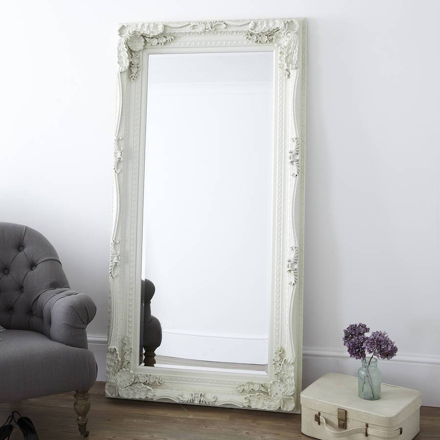 Cream Carved Floor Standing Mirrorprimrose & Plum within Cream Floor Standing Mirrors (Image 5 of 15)