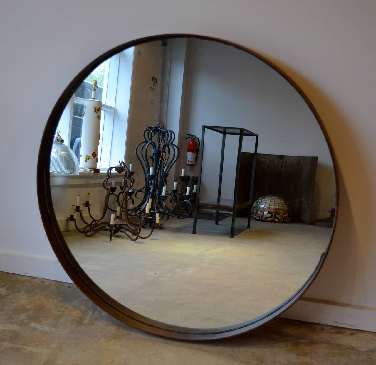 Decor: Tile Floorings And Interior Paint Color With Metal Round regarding Large Round Metal Mirrors (Image 4 of 15)