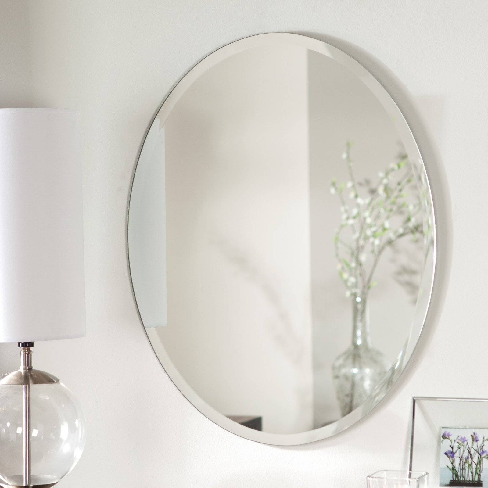 Décor Wonderland Odelia Oval Bevel Frameless Wall Mirror with Bevel Mirrors (Image 6 of 15)