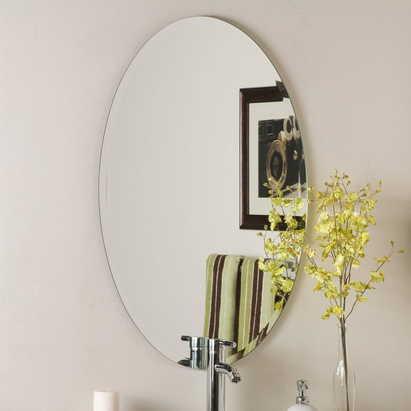 Decor Wonderland Ssm202 Frameless Oval Beveled Mirror | Lowe's Canada pertaining to Oval Bevelled Mirrors (Image 3 of 15)