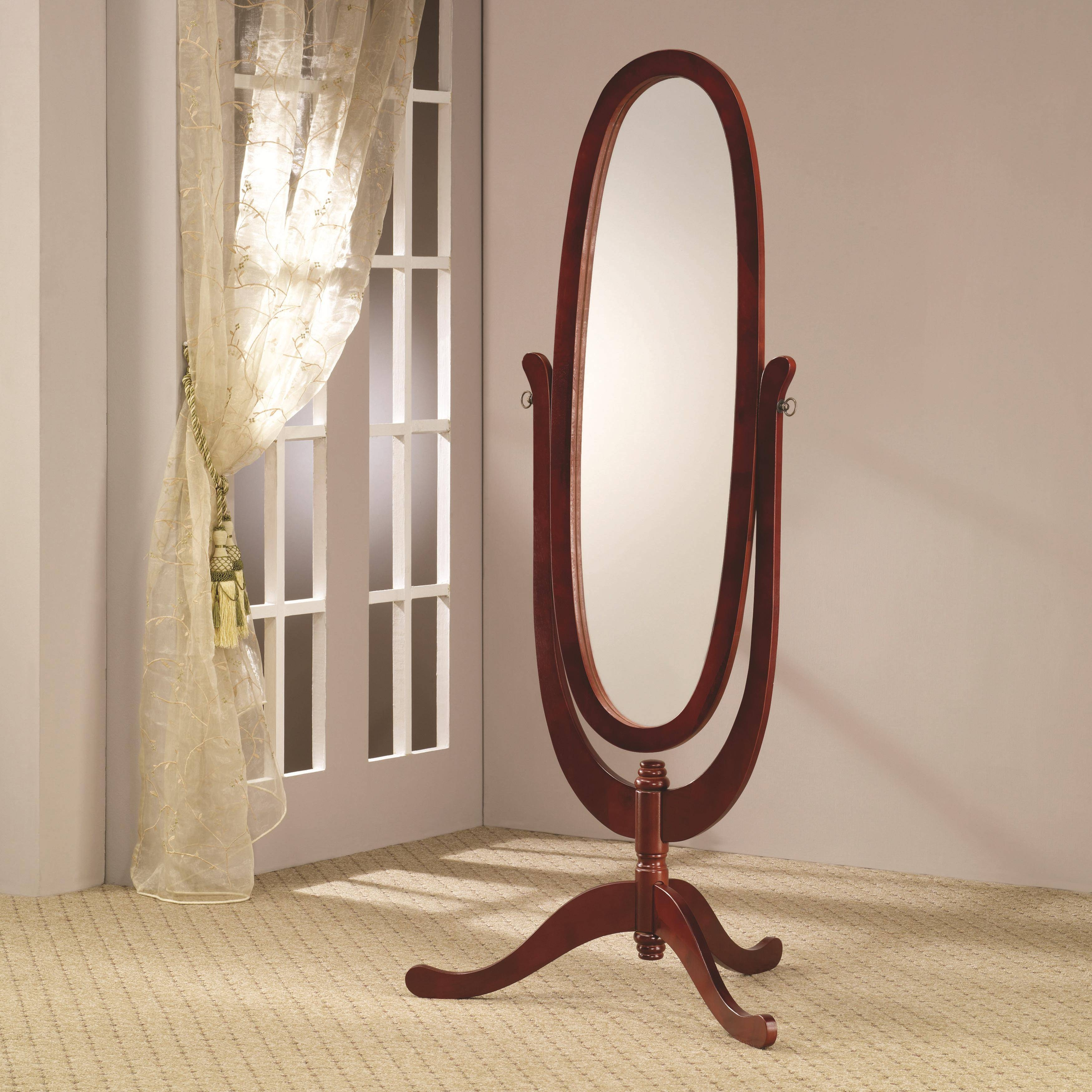 Decorating: Oak Cheval Mirror With 3 Legs For Home Accessories Ideas with Free Standing Oak Mirrors (Image 4 of 15)