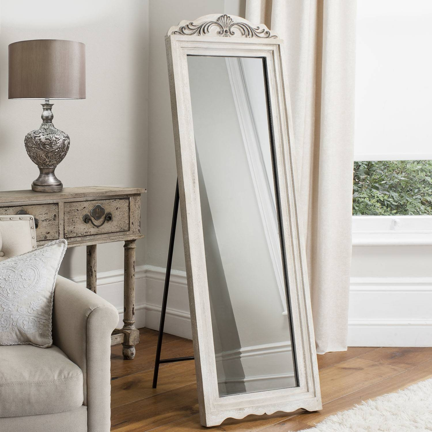 Decorating: Rectangle White Cheval Mirror With Wooden Floor And pertaining to Cream Cheval Mirrors (Image 4 of 15)