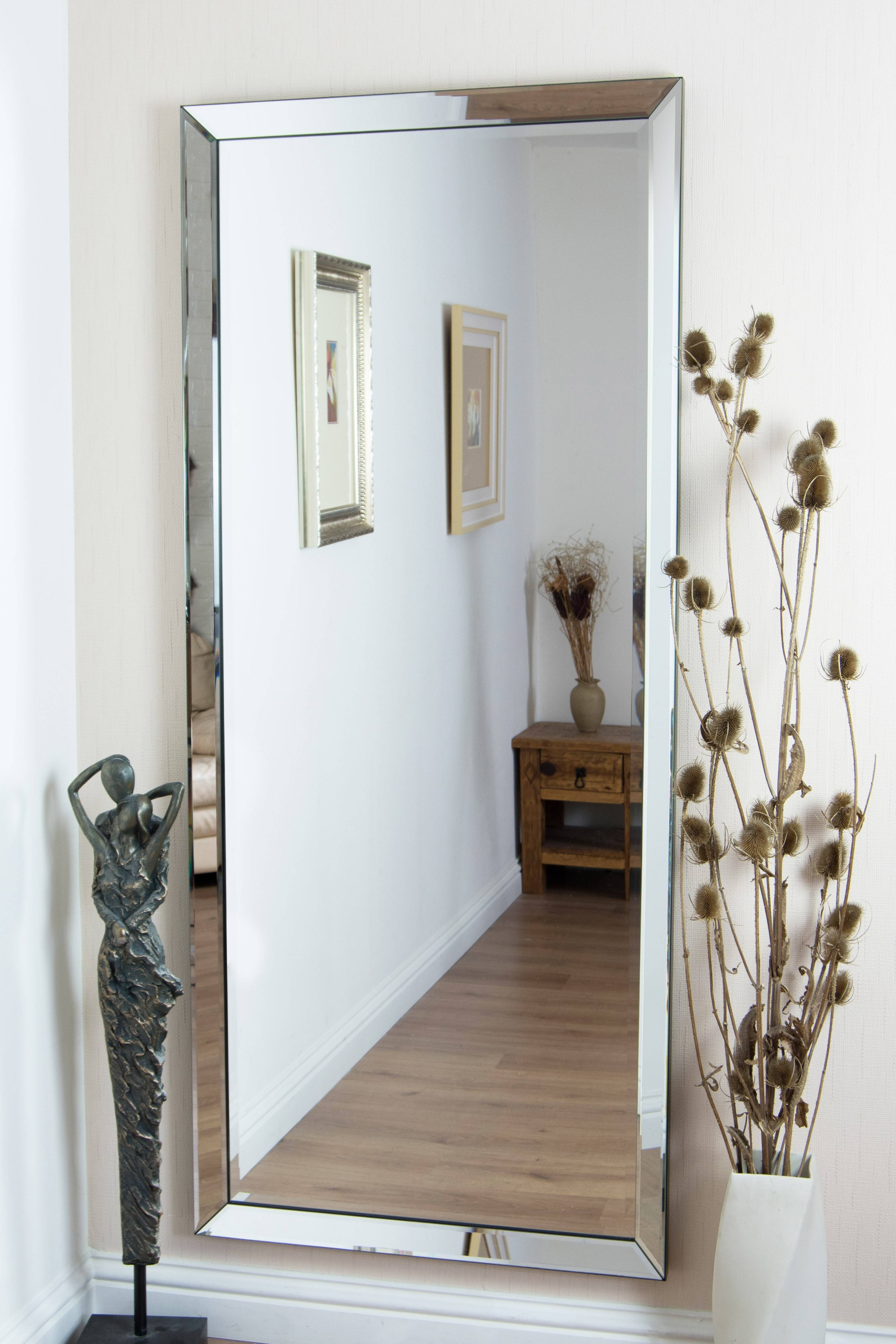 Decoration Cool Large Modern Frameless Wall Mounted Mirror pertaining to Large Hallway Mirrors (Image 7 of 15)