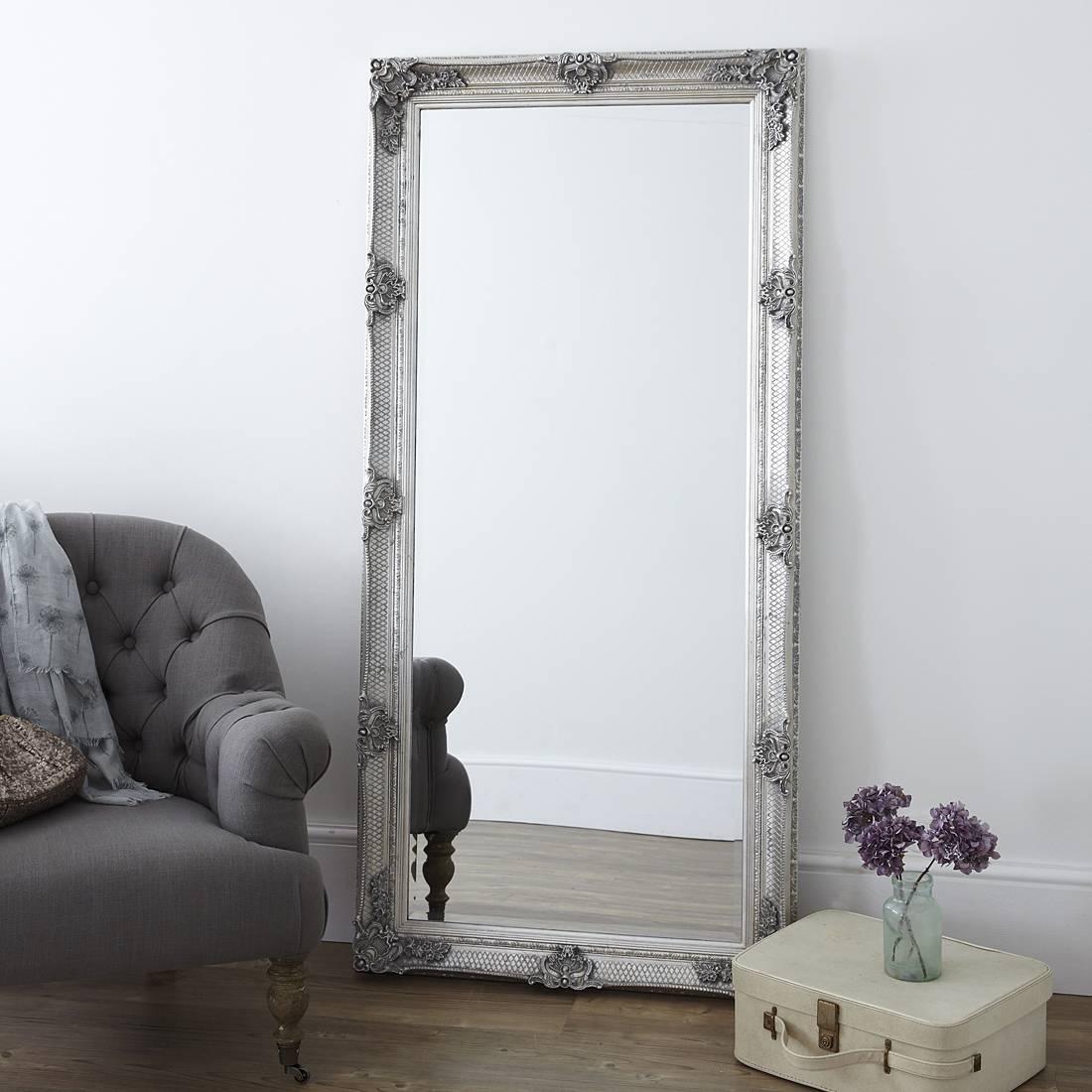 Decorative Antique Silver Full Length Mirror – Primrose & Plum with regard to Floor Dressing Mirrors (Image 3 of 15)