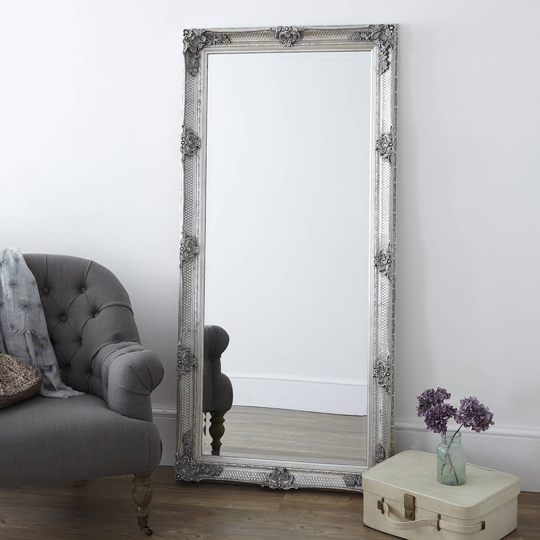 Decorative Pewter Floor Standing Mirror – Primrose & Plum Throughout Antique Long Mirrors (View 6 of 15)