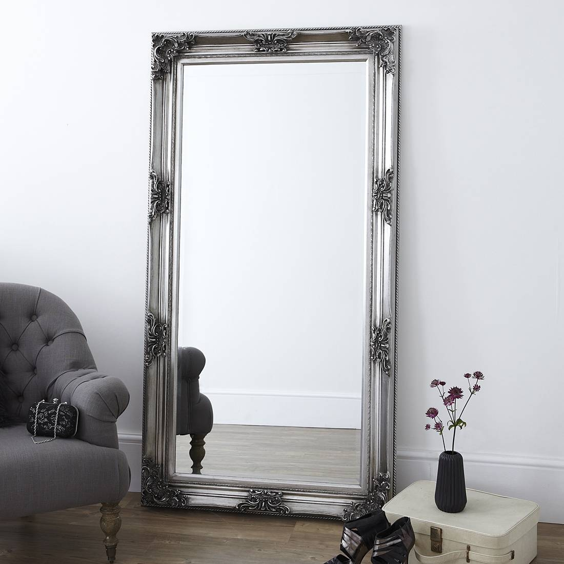 Decorative Pewter Floor Standing Mirror – Primrose & Plum within French Style Full Length Mirrors (Image 4 of 15)