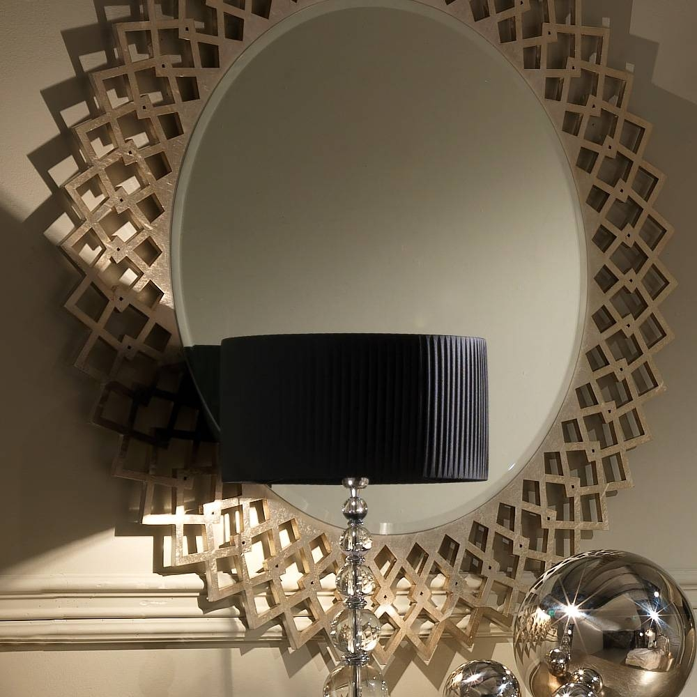 Designer Italian Champagne Leaf Round Mirror | Juliettes Interiors for Champagne Silver Mirrors (Image 3 of 15)