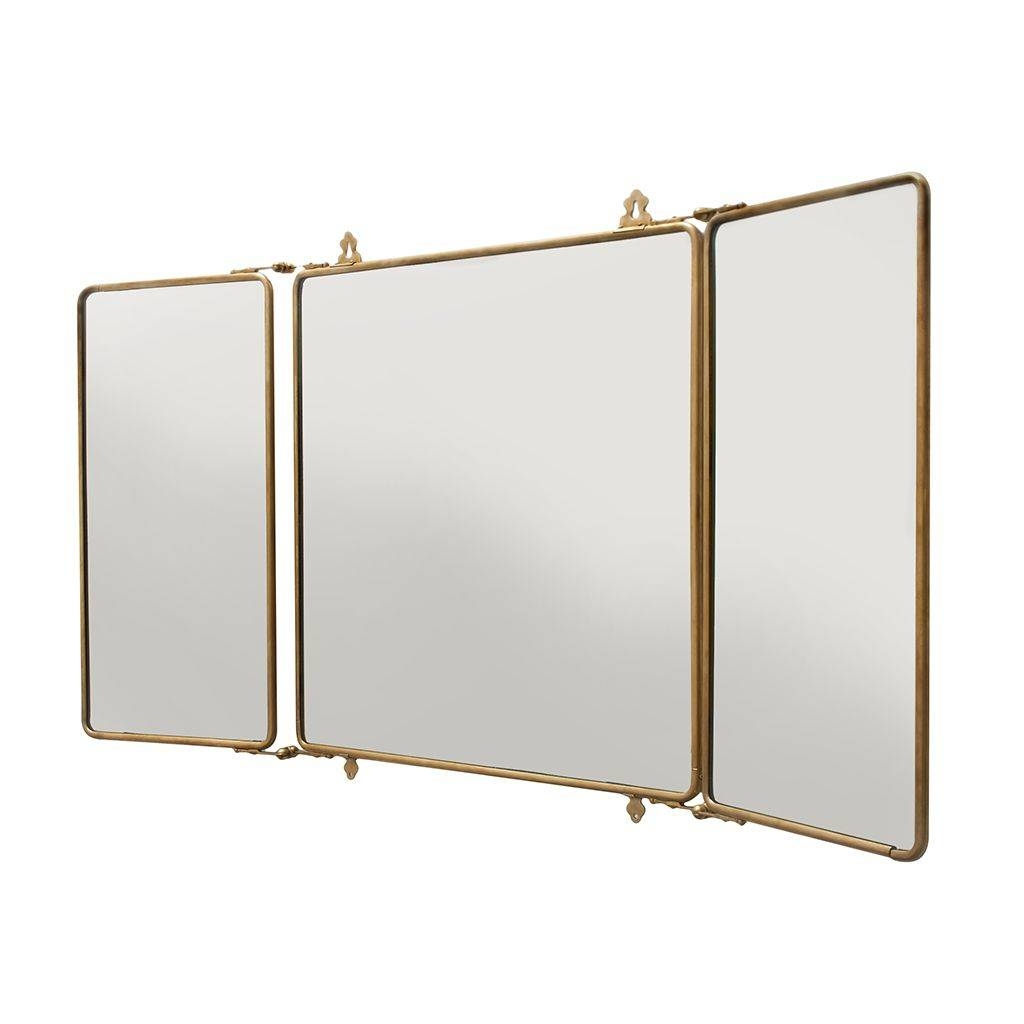 Discover Daphne Metal Rectangular Wall Mounted Trifold Mirror 42 3 throughout Brass Mirrors (Image 8 of 15)