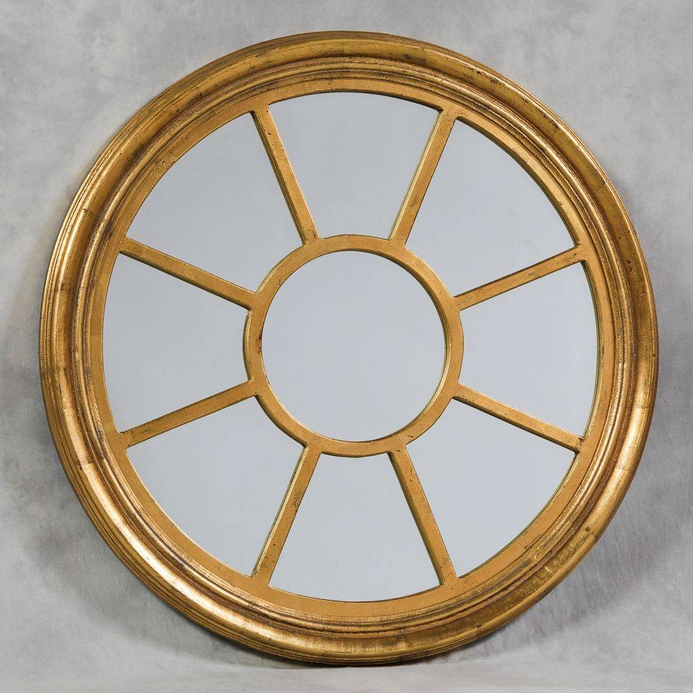 Distressed Gold Round Porthole Mirror With Regard To Round Porthole Mirrors (View 6 of 15)