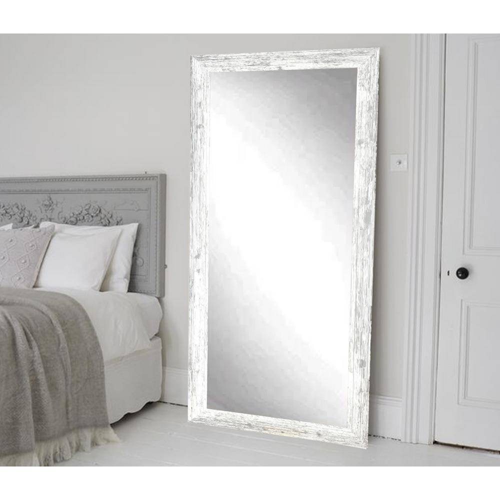 Distressed White Barnwood Full Length Floor Wall Mirror Bm032Ts With Regard To Large White Floor Mirrors (View 6 of 15)