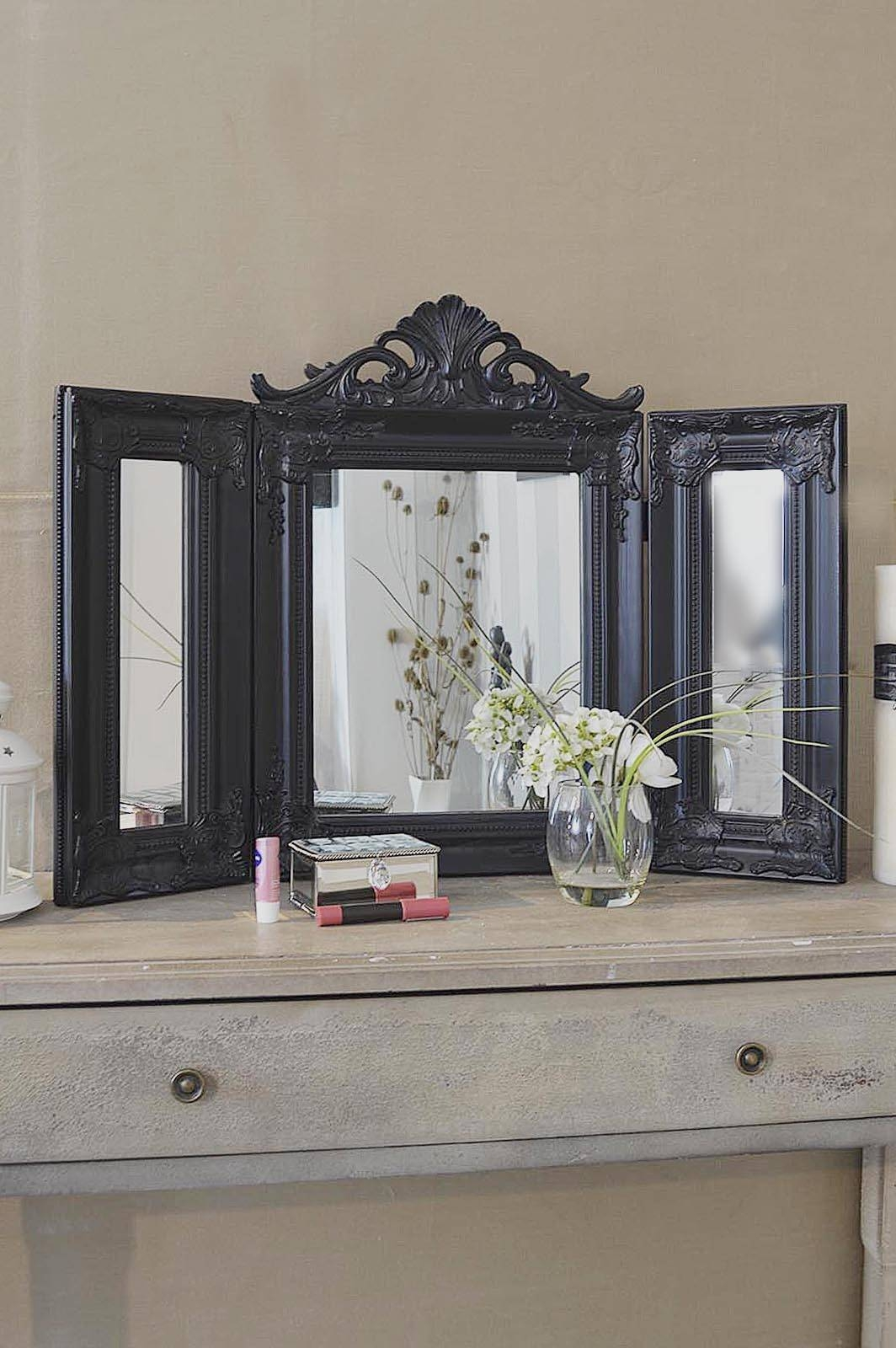 Elegant Black Antique Style Design Free Standing Dressing Table pertaining to Free Standing Dressing Table Mirrors (Image 6 of 15)