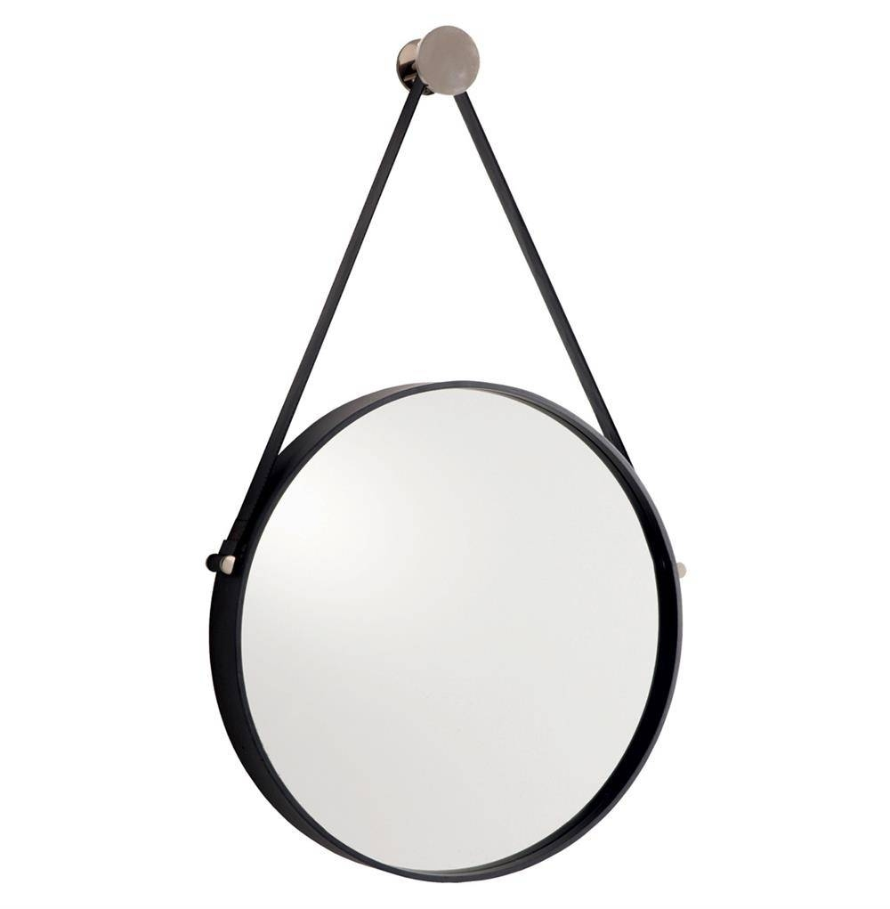 Expedition Iron Round Mirror With Leather Strap | Kathy Kuo Home Inside Round Leather Mirrors (View 2 of 15)