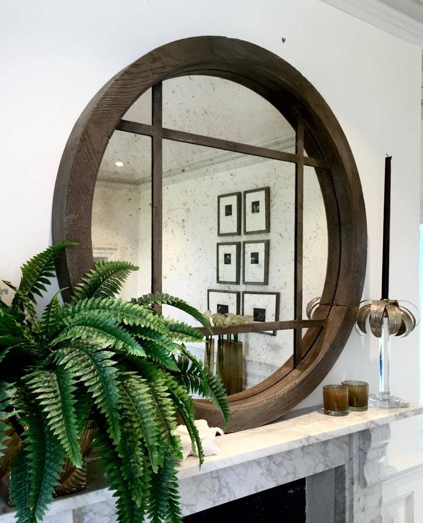 Extra Large Reclaimed Oak Circular Window Mirror Reclaimed-Wooden within Very Large Round Mirrors (Image 7 of 15)