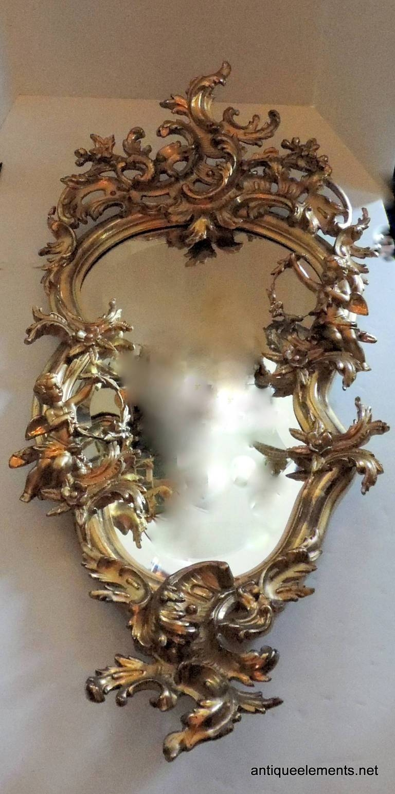 Extraordinary 19th Century French Carved And Gilt Cherub Rococo Regarding French Rococo Mirrors (View 2 of 15)