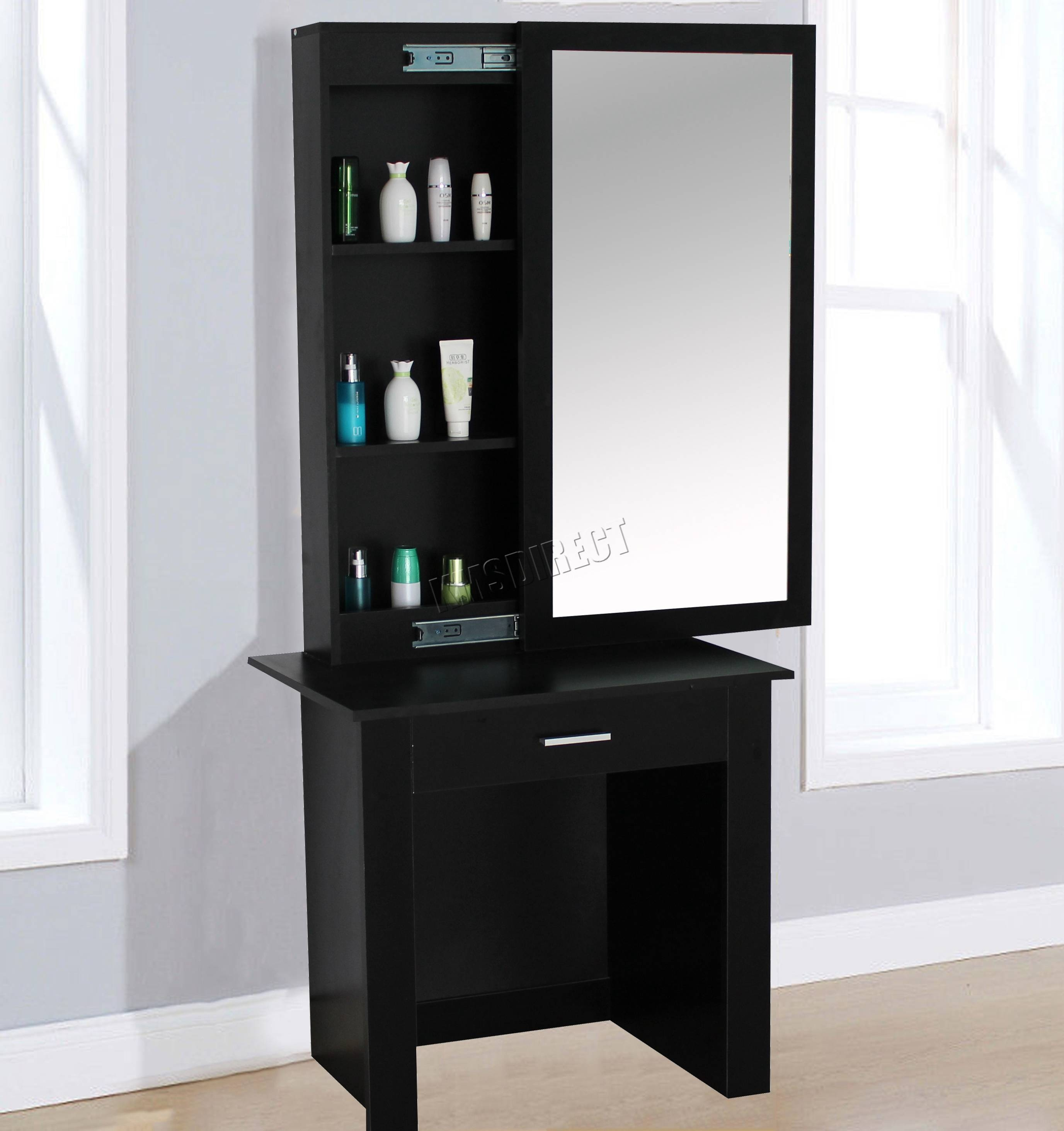 Foxhunter Wooden Makeup Jewelry Dressing Table With Sliding Mirror within Dressing Table With Long Mirrors (Image 10 of 15)