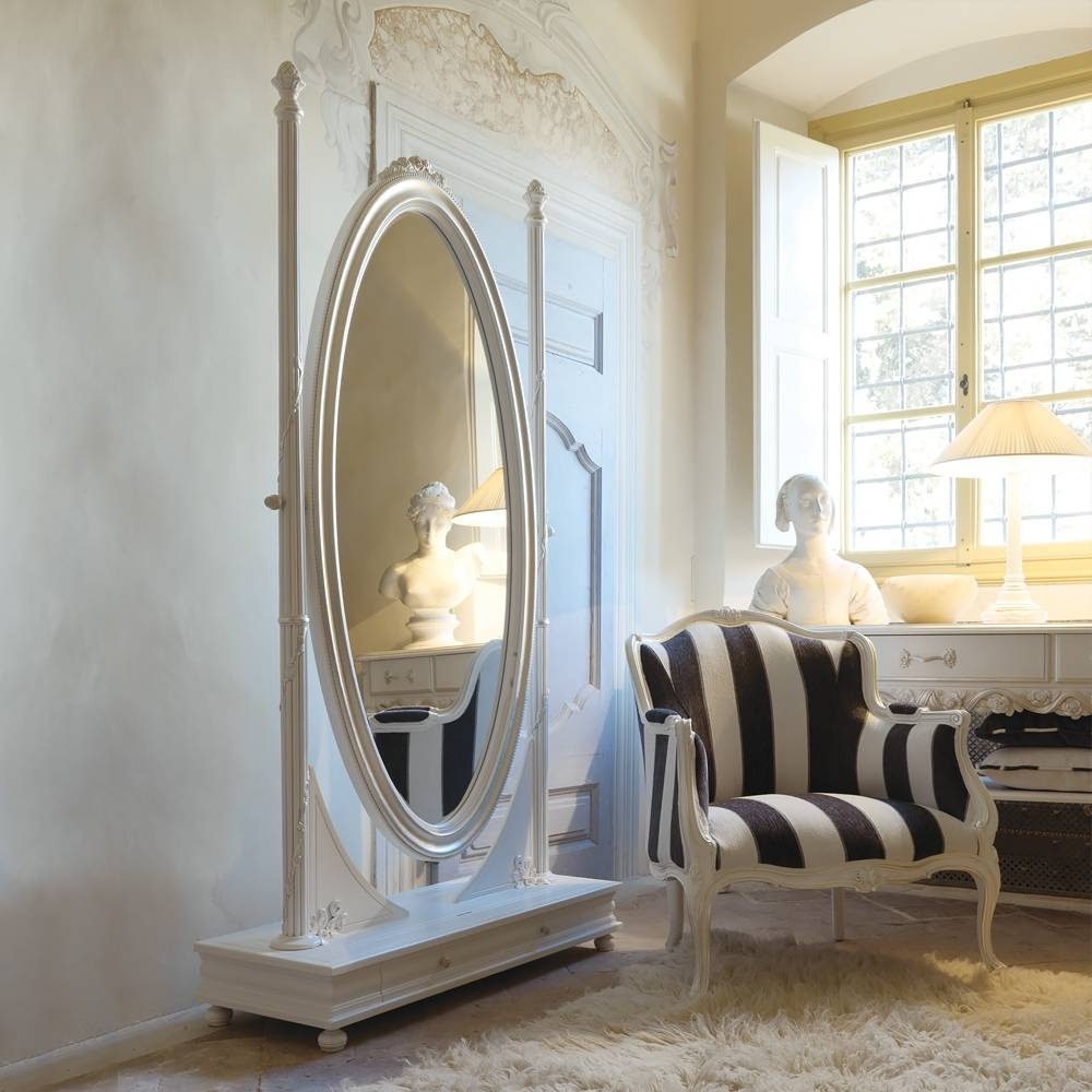 Freestanding Italian Oval Antique White Dressing Mirror inside Floor Dressing Mirrors (Image 4 of 15)