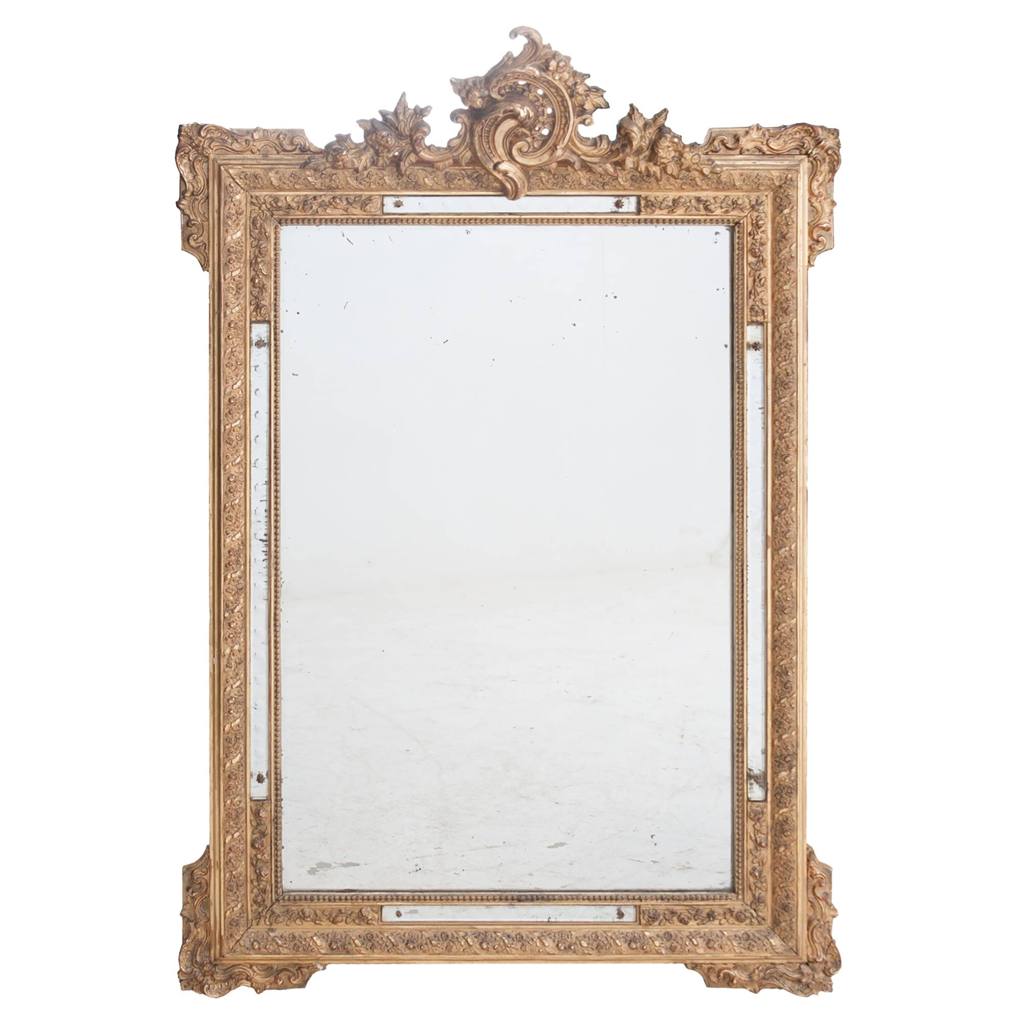 French 19Th Century Rococo Style Gilt Mirror With Applique Mirror with regard to French Gilt Mirrors (Image 8 of 15)