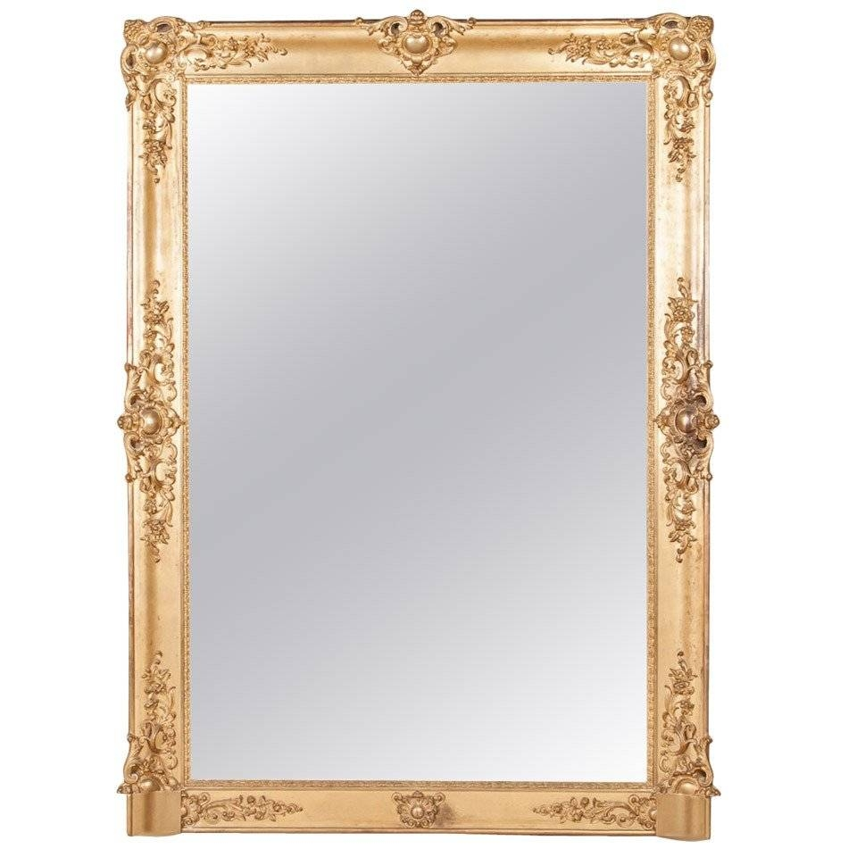 "French Baroque Grand Scale Gold Leaf Mirror (72""h X 52""w) At 1stdibs In Baroque Gold Mirrors (View 12 of 15)"