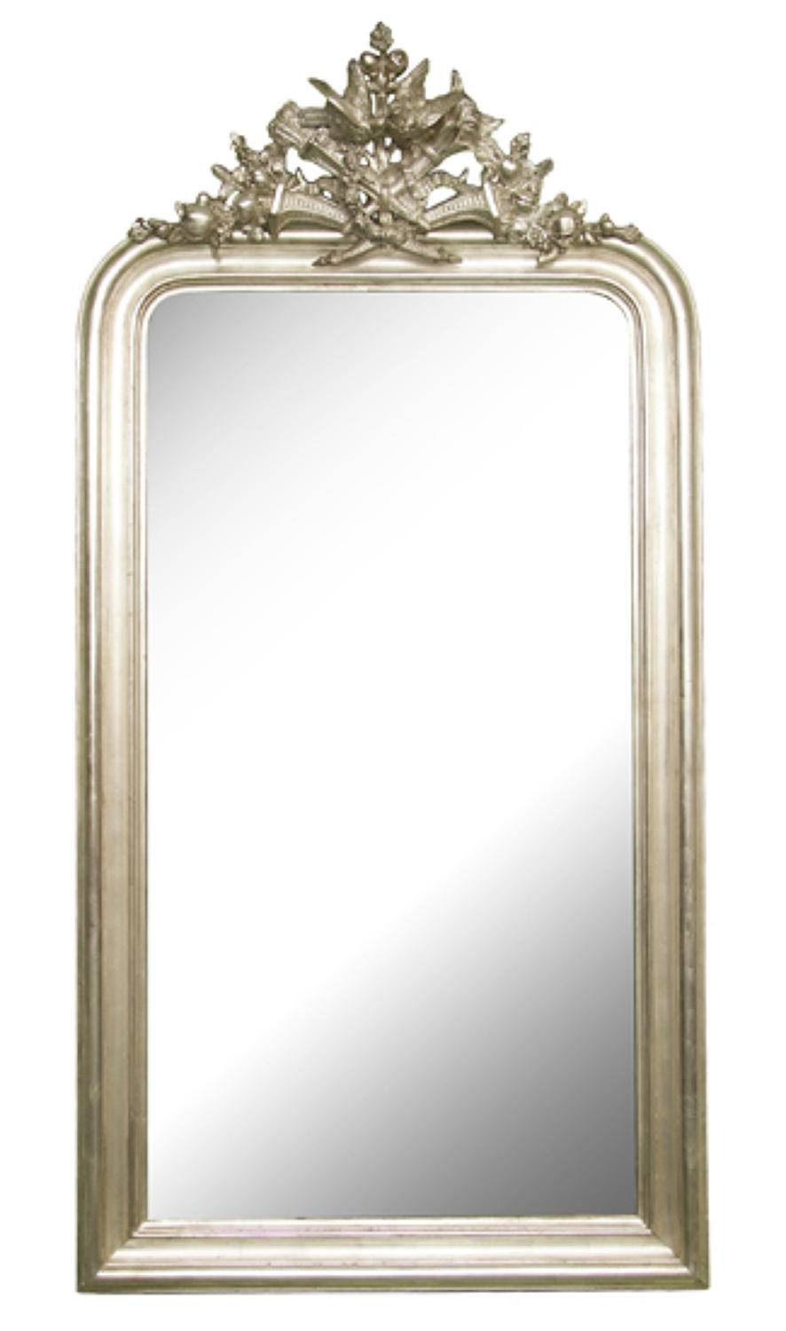 French Crested Antique Silver Gilded Mirror In Antique Gilded Inside Silver Gilded Mirrors (View 3 of 15)