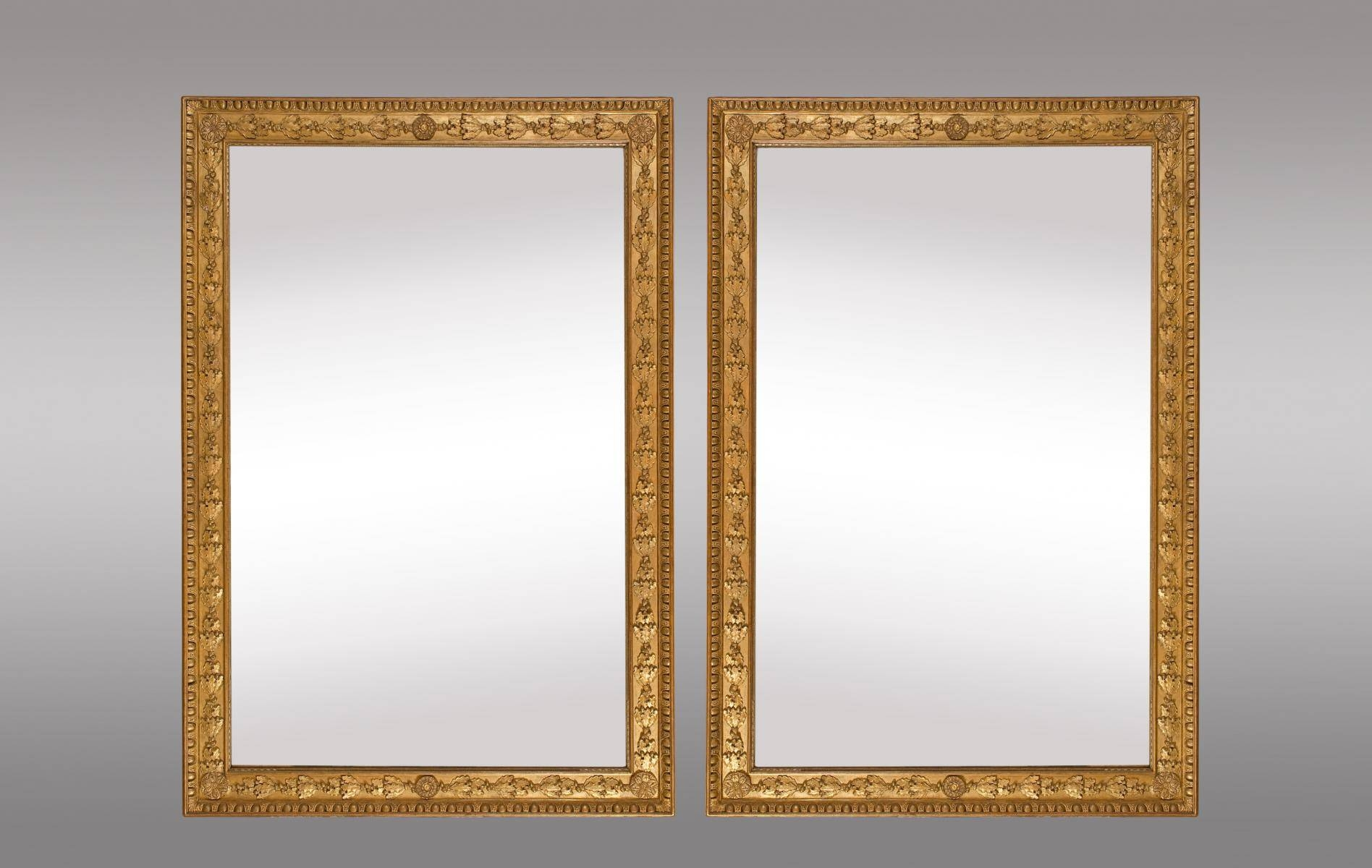 French Gilt Mirrors With Oak Leaves And Rosettes, Set Of 2 For within French Gilt Mirrors (Image 10 of 15)