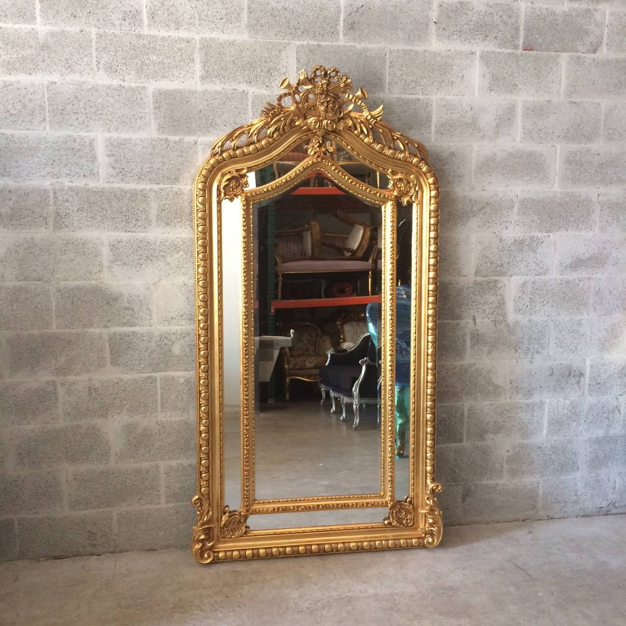 French Mirror Gold Antique Floor Mirror Carved French Furniture Pertaining To Baroque Floor Mirrors (View 13 of 15)