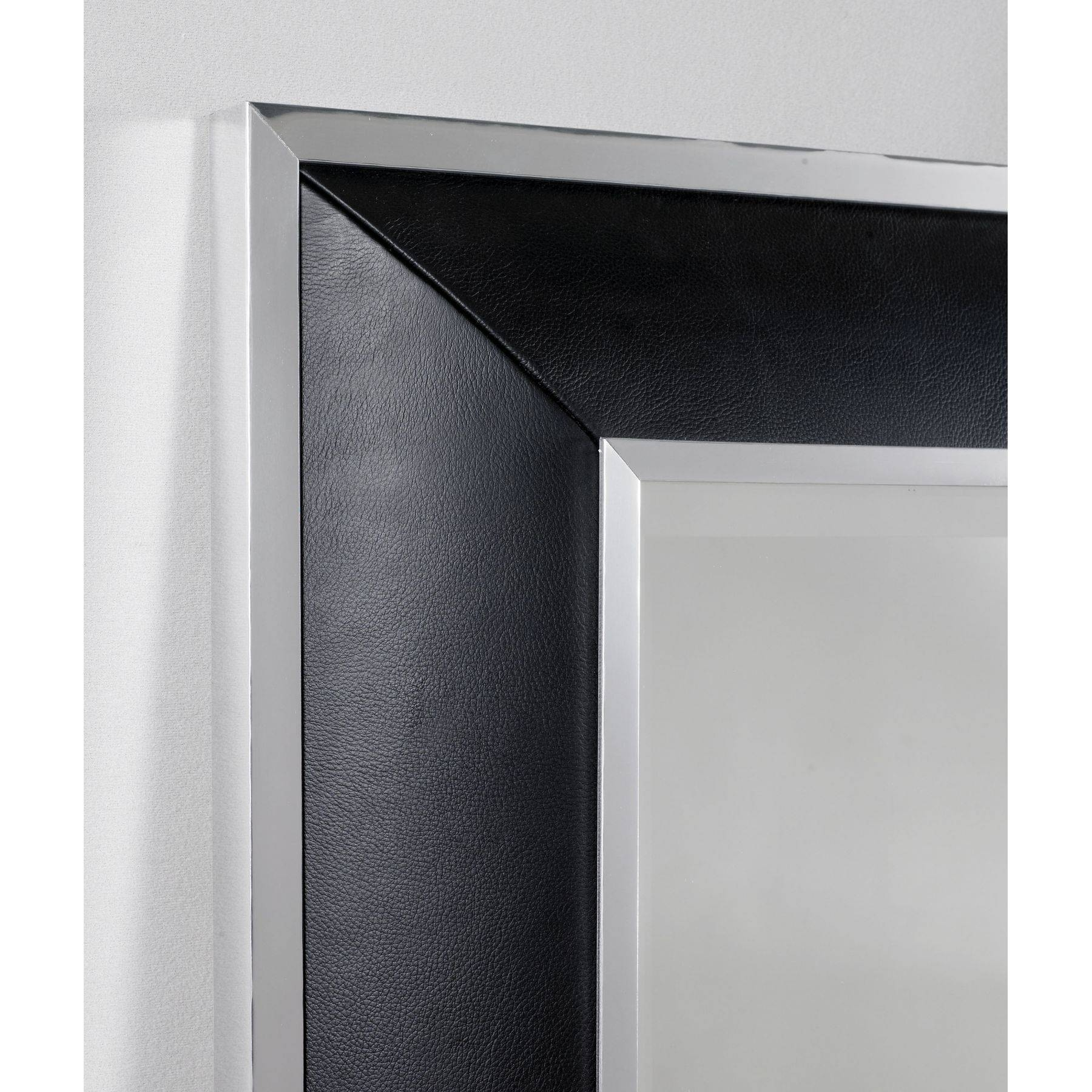 French Style Black Ash Leather Mirror Regarding Wall Leather Mirrors (View 15 of 15)