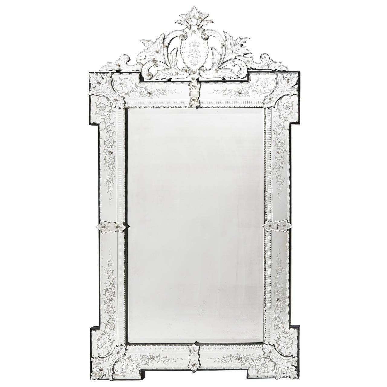 French Venetian Style Engraved Rectangular Mirror With Foliate Inside Venetian Style Mirrors (View 2 of 15)