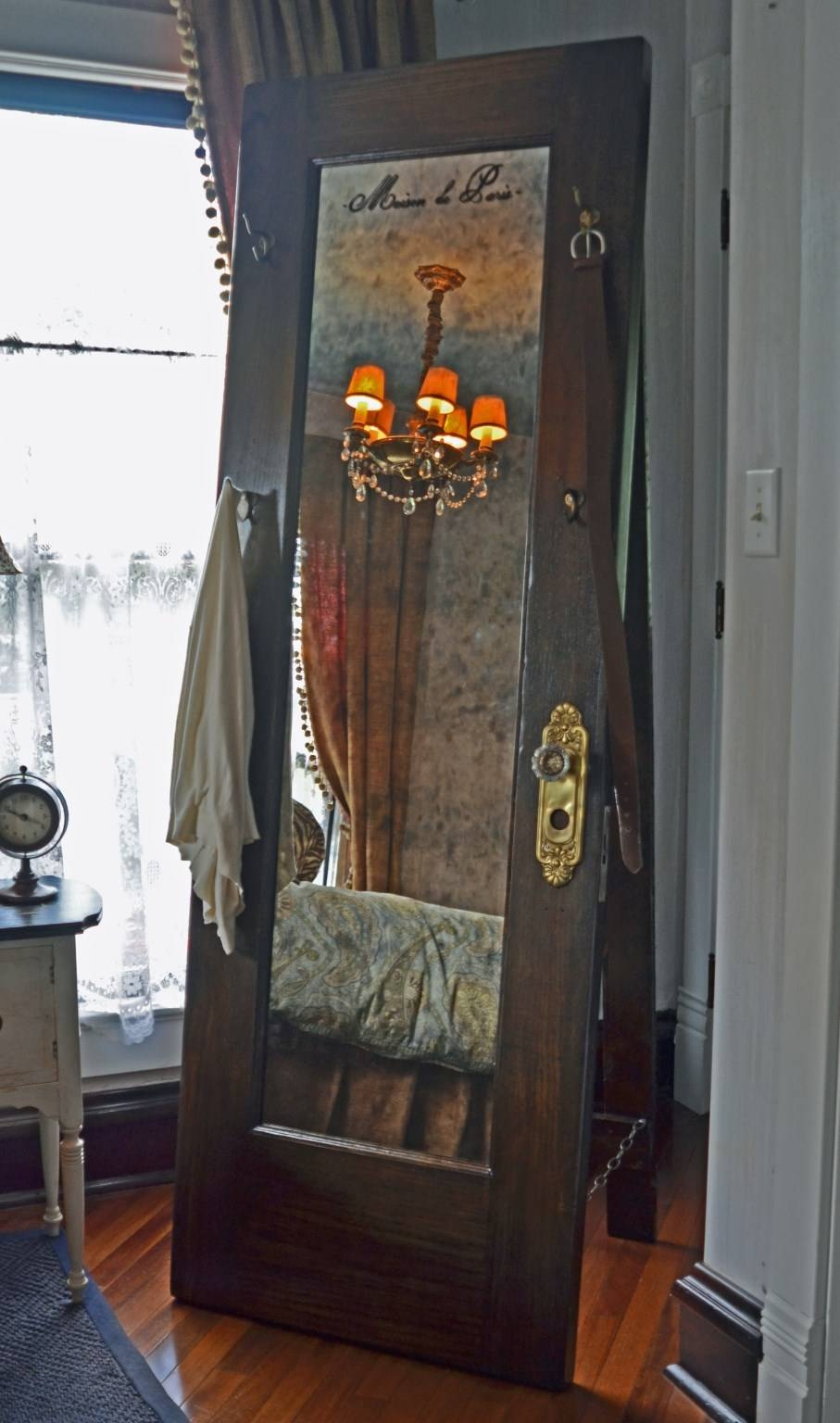 Full Length Standing Mirror - Vintage Door Standing Mirror With Hooks regarding Antique Floor Length Mirrors (Image 6 of 15)
