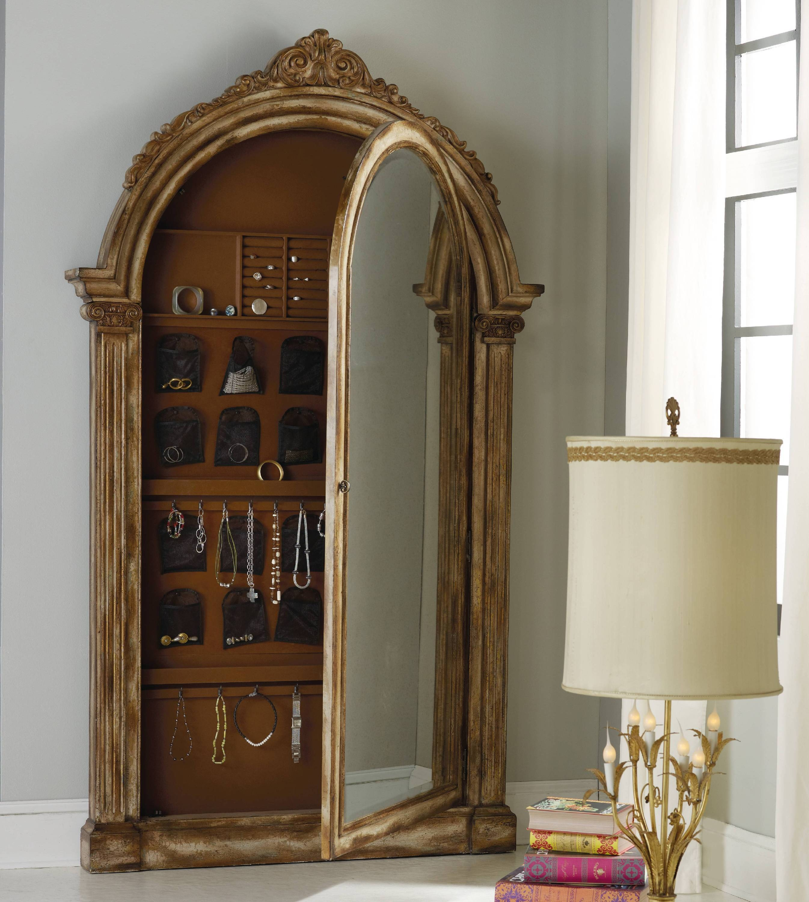 Furniture: Antique Wooden Jewelry Armoire Mirror With White Wall With Regard To Vintage Floor Length Mirrors (View 9 of 15)