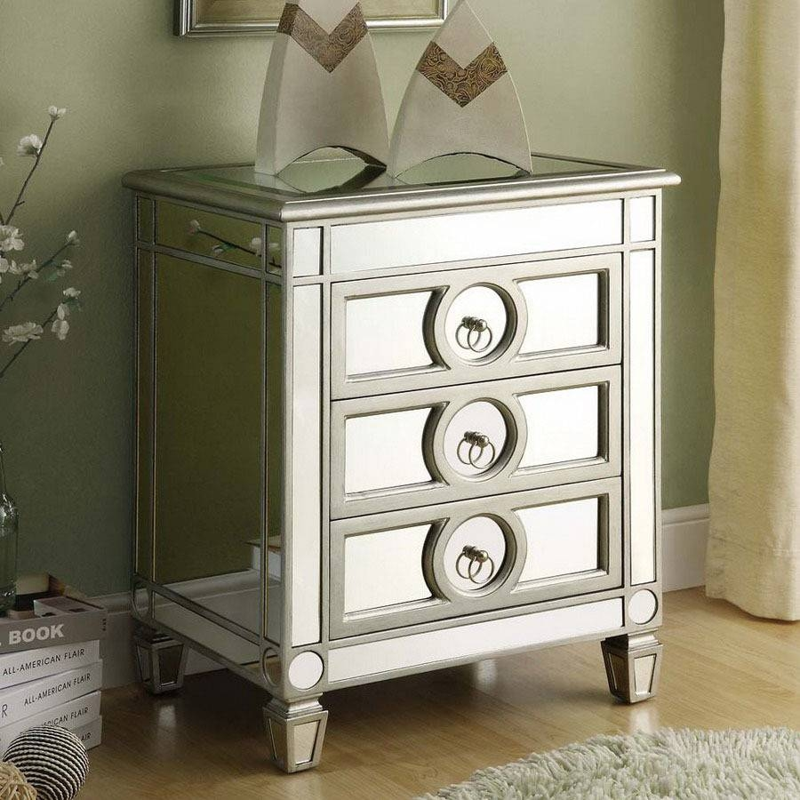 Furniture: Beautiful Silver Nightstand For Contemporary Modern Throughout Bedside Tables Antique Mirrors (View 7 of 15)