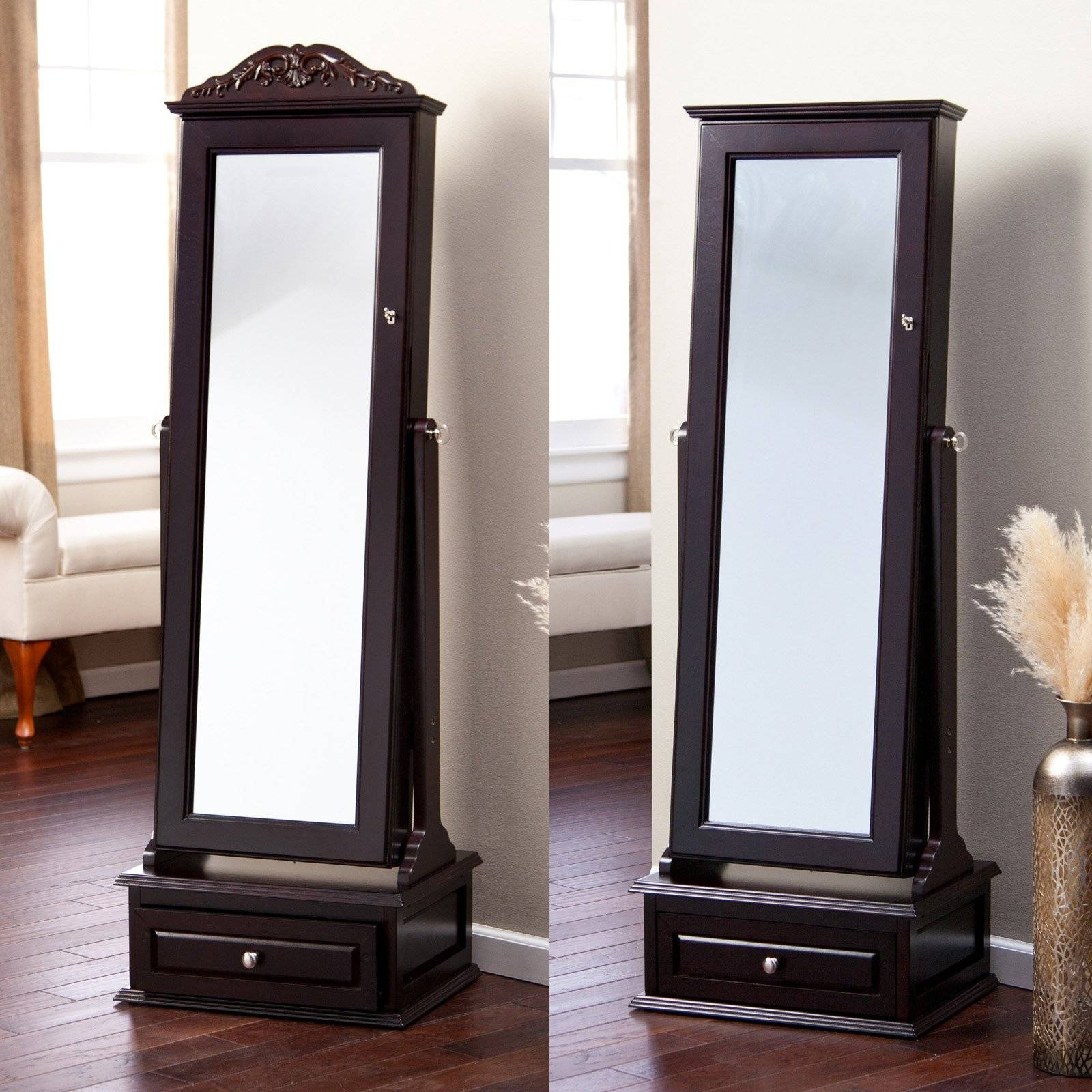 Furniture: Cheval Mirror | Standing Jewelry Mirror | Standing Mirrors intended for Black Free Standing Mirrors (Image 8 of 15)