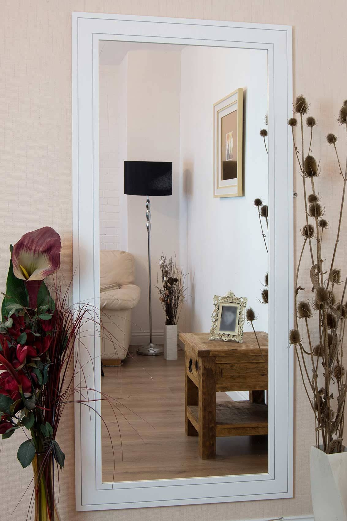 Furniture: Luxury Leaner Mirror For Home Accessories Ideas Throughout Large White Floor Mirrors (View 10 of 15)