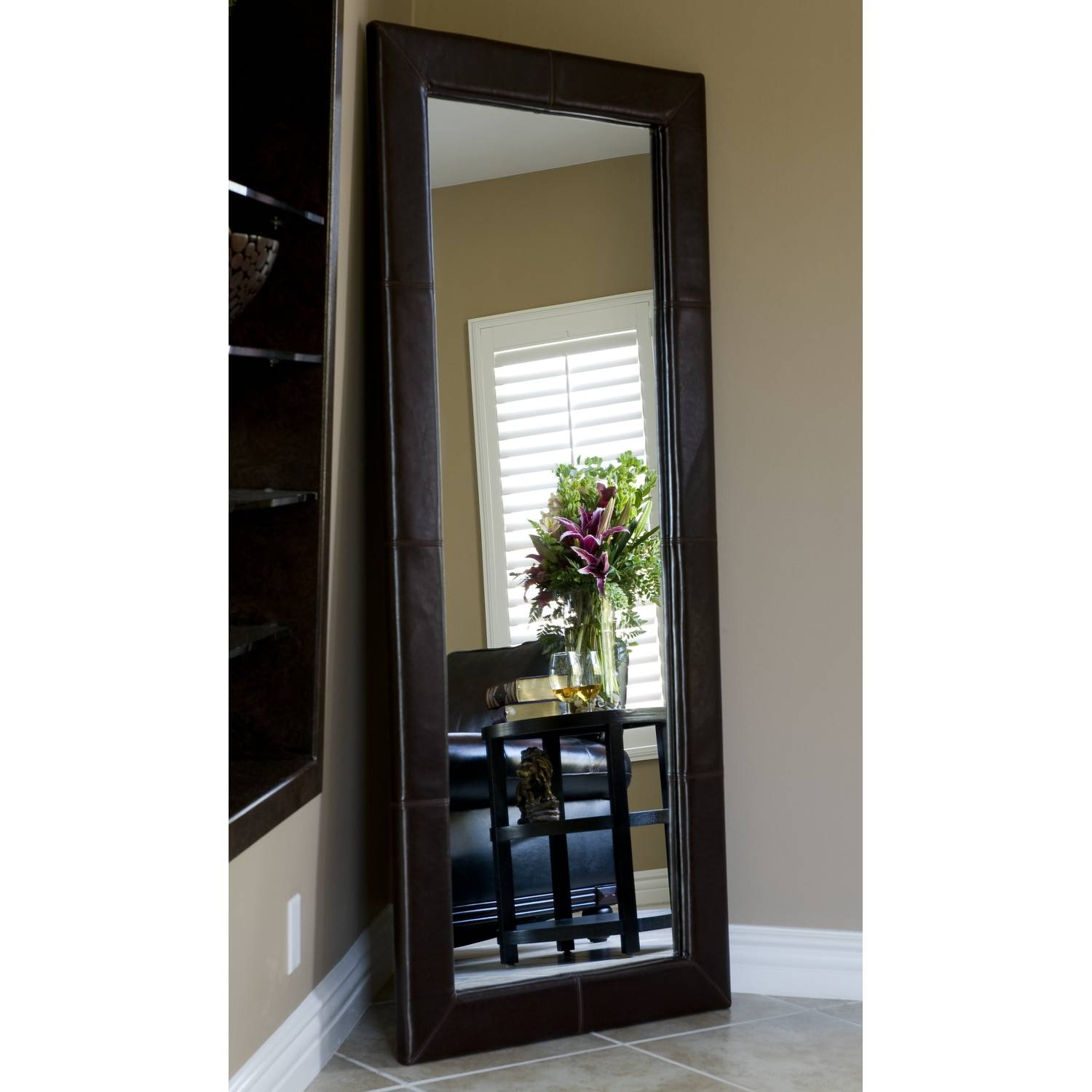 Furniture: Mesmerizing Oversized Floor Mirror For Home Furniture Within Black Leather Framed Mirrors (View 3 of 15)