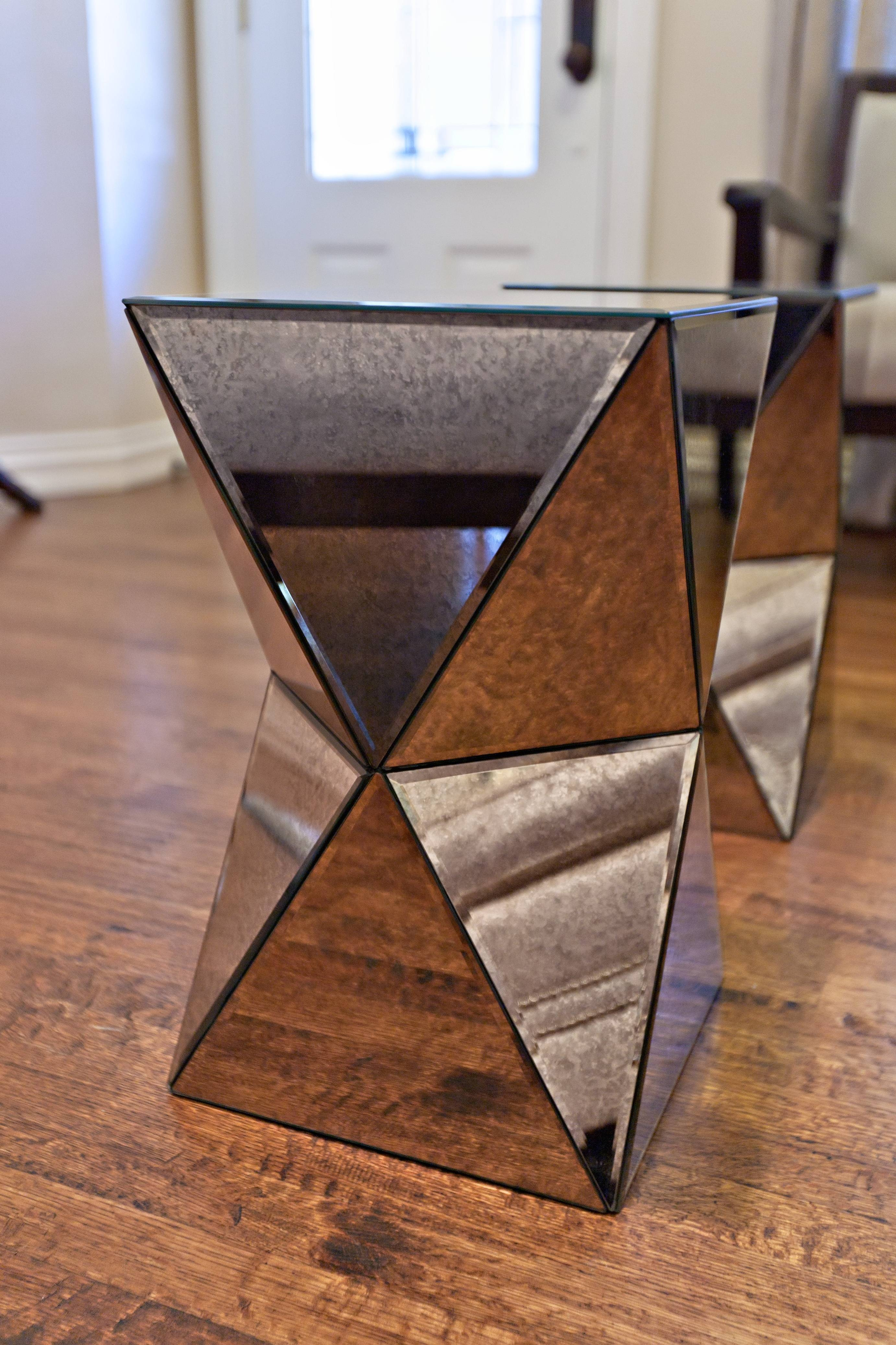 Furniture: West Elm Faceted Mirrored Accent Table For Home regarding Occasional Tables Mirrors (Image 13 of 15)