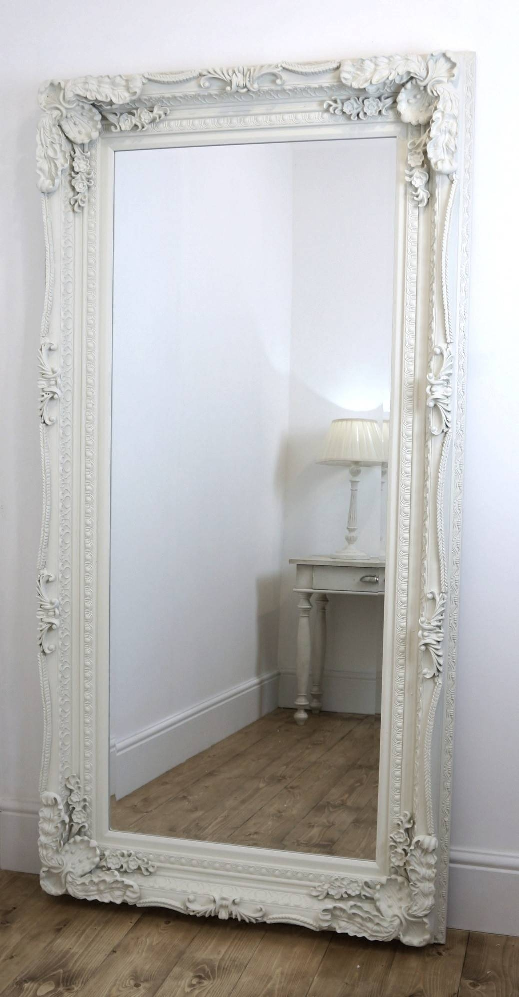 Furniture: White Swept Leaner Mirror For Antique Home Accessories Within Large White Antique Mirrors (View 3 of 15)